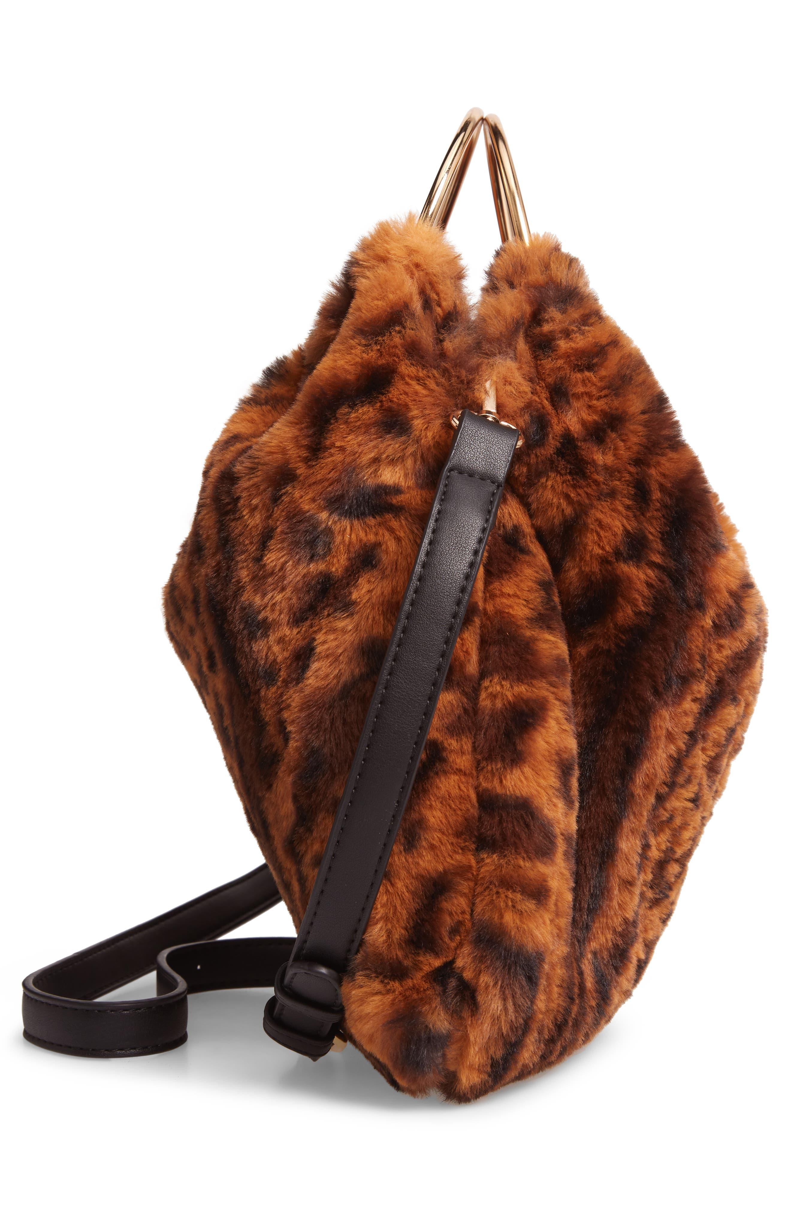 Ring Handle Faux Fur Bag,                             Alternate thumbnail 5, color,                             LEOPARD