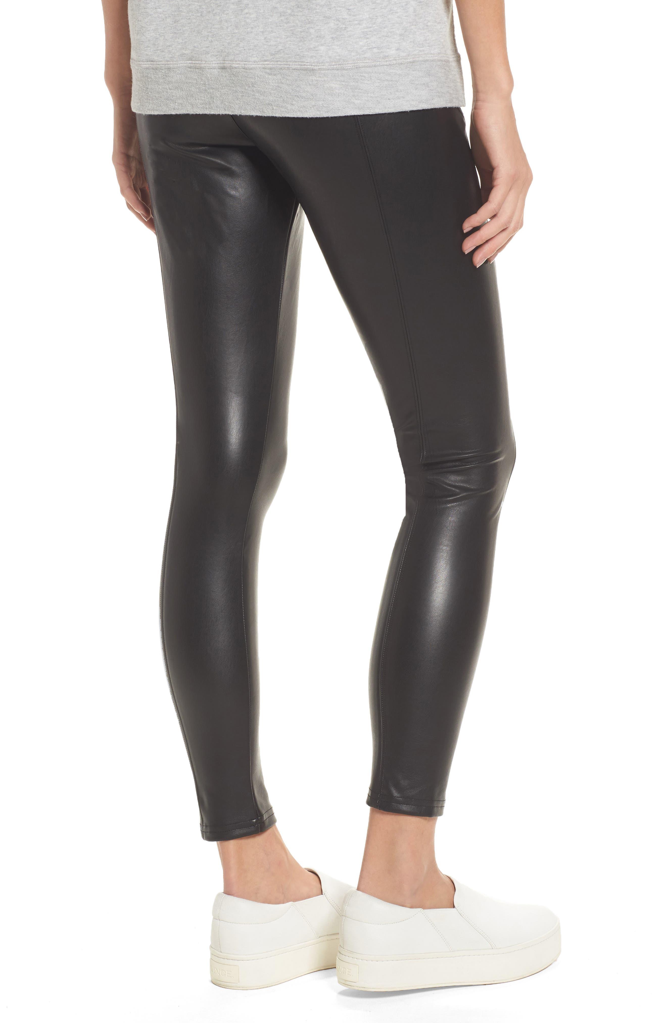 Faux Leather Leggings,                             Alternate thumbnail 2, color,                             BLACK