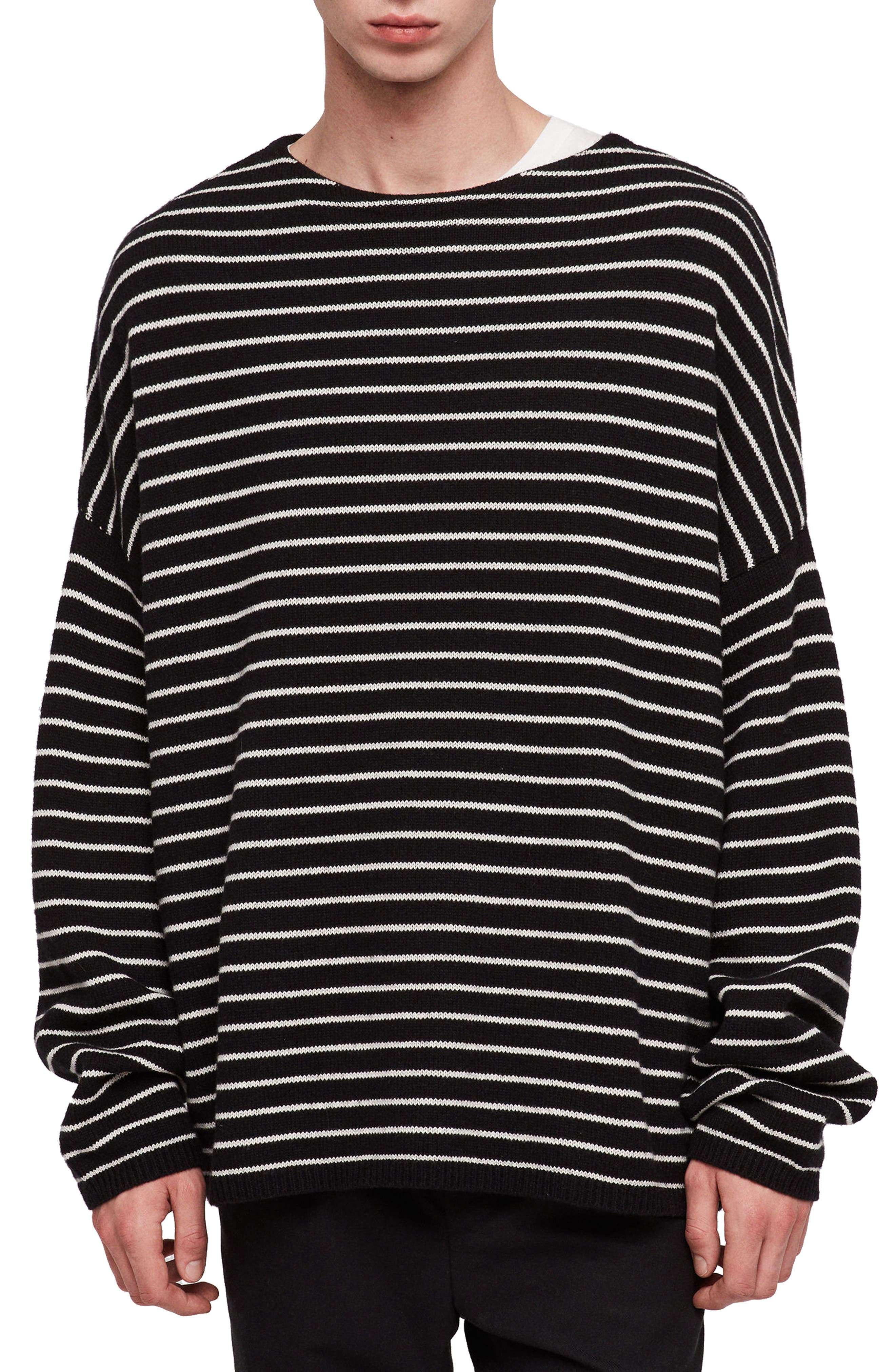 ALLSAINTS,                             Marty Stripe Crewneck Sweater,                             Main thumbnail 1, color,                             016