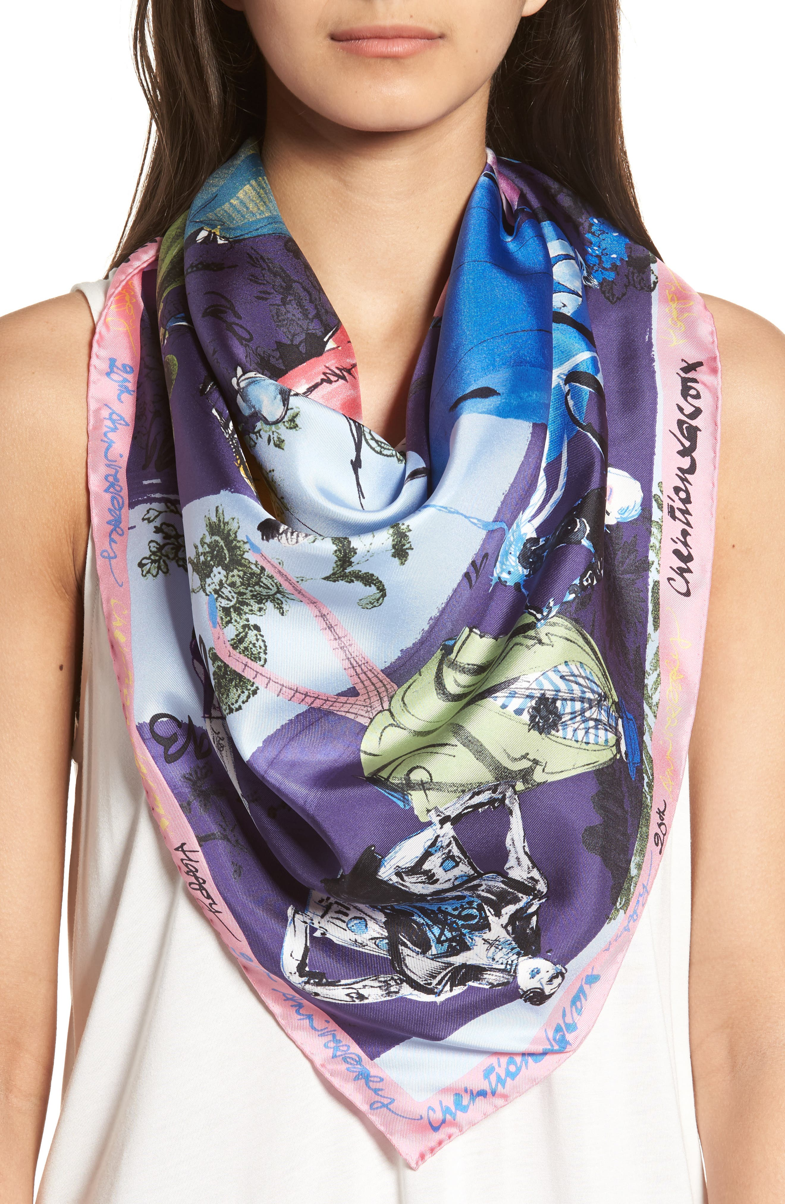 '20 Ans' Square Silk Scarf,                             Alternate thumbnail 9, color,