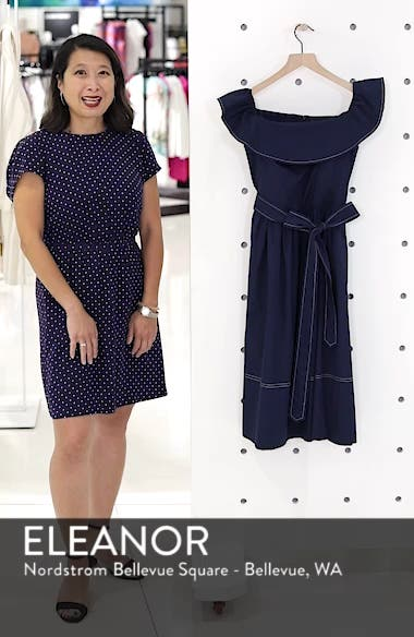 Off the Shoulder Contrast Stitch Dress, sales video thumbnail