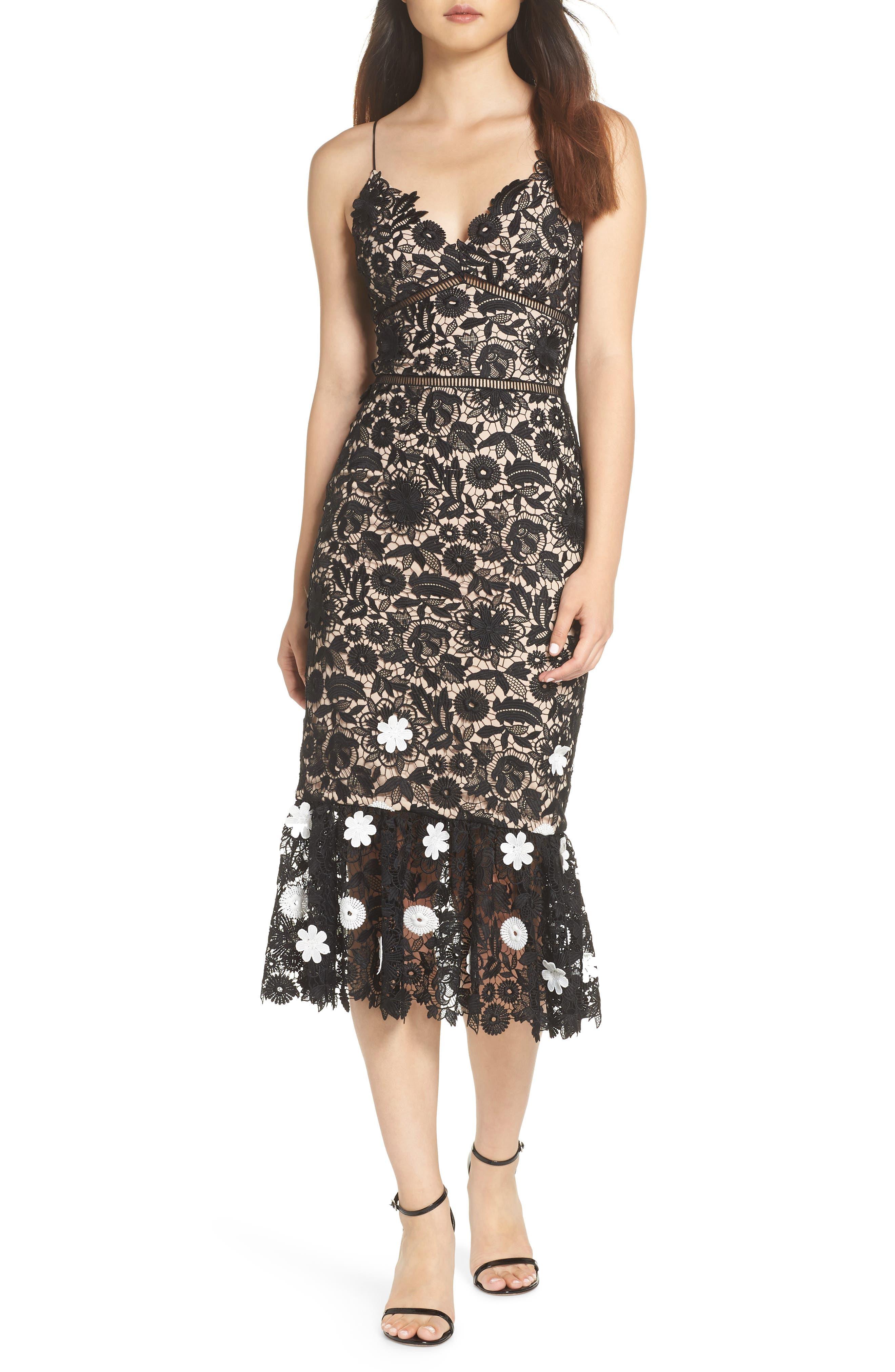 ML MONIQUE LHUILLIER,                             3D Floral Lace Cocktail Dress,                             Main thumbnail 1, color,                             001
