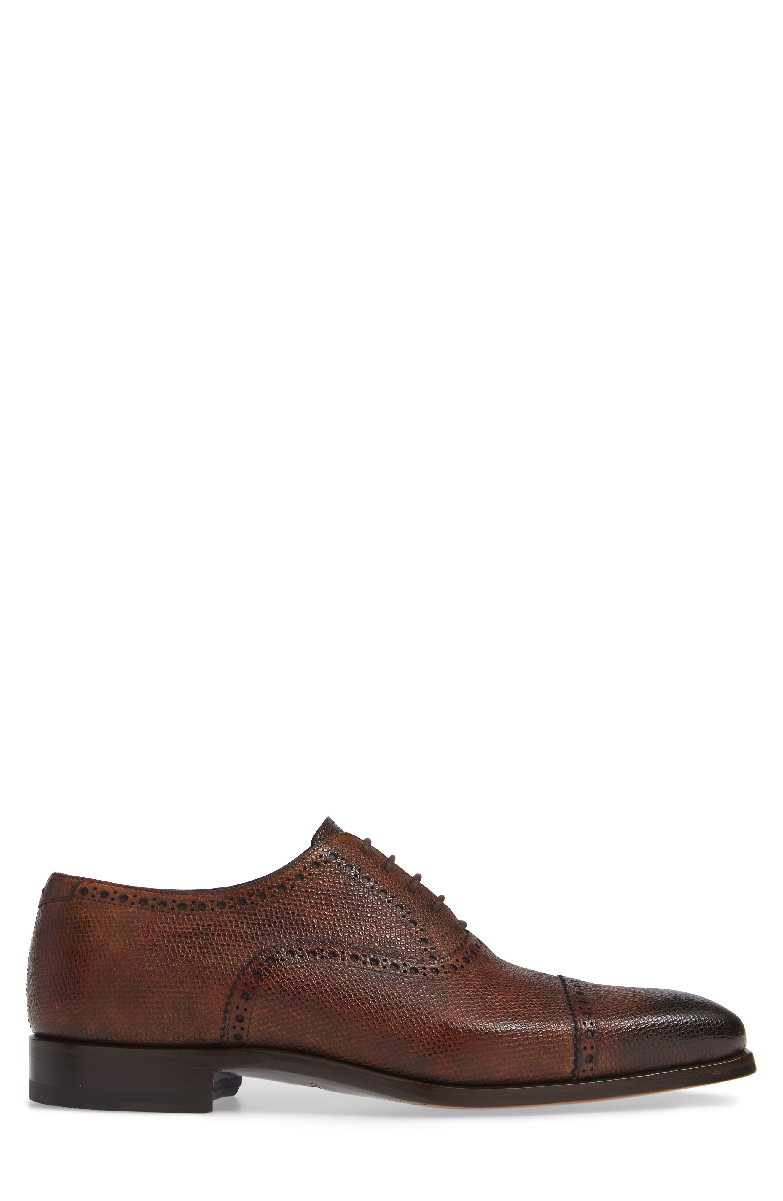 Charlton Cap Toe Oxford,                             Alternate thumbnail 3, color,                             MID BROWN LEATHER