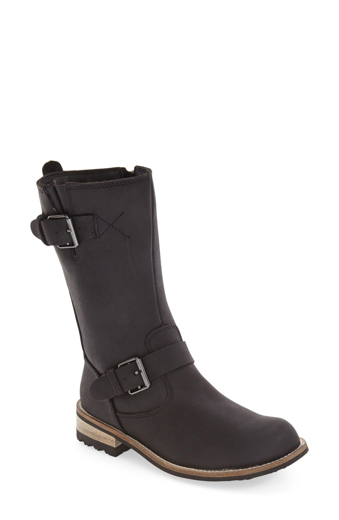 'Alcona' Waterproof Boot,                         Main,                         color, BLACK LEATHER