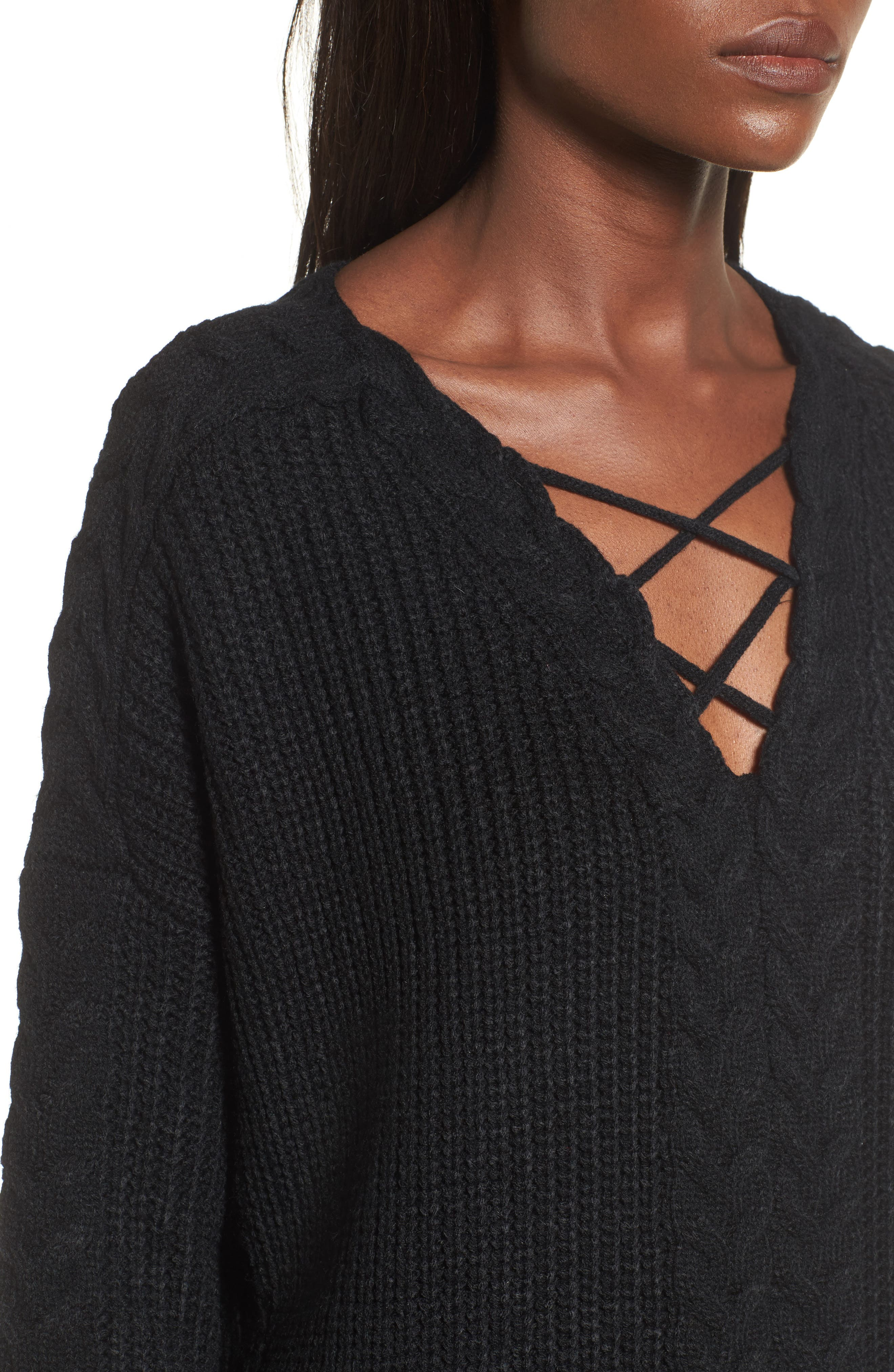 Cross Front Braided Sweater,                             Alternate thumbnail 4, color,                             001