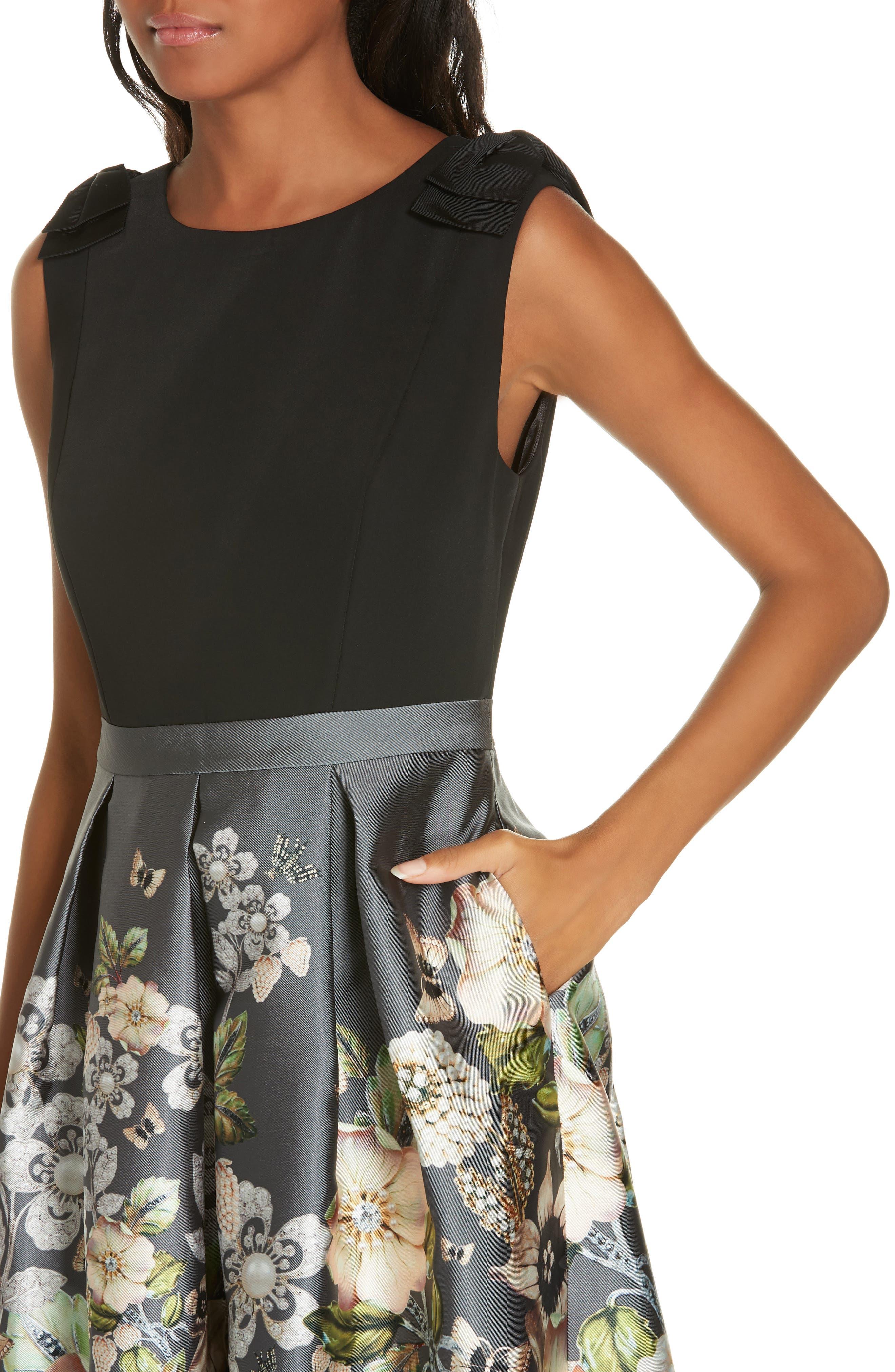 Molyka Gem Gardens Bow Dress,                             Alternate thumbnail 4, color,                             CHARCOAL