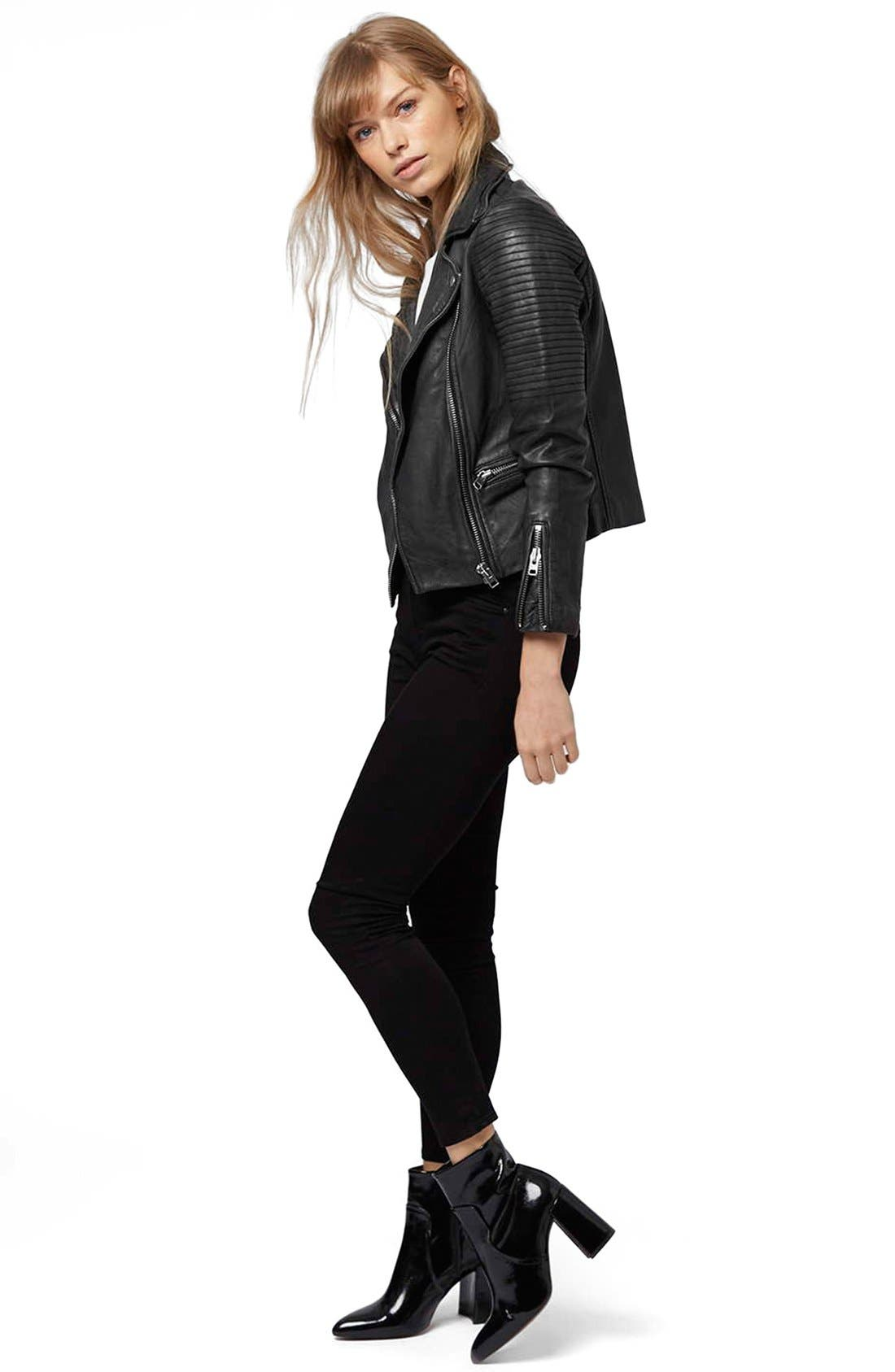 'Orbit' Leather Moto Jacket,                             Alternate thumbnail 5, color,                             001