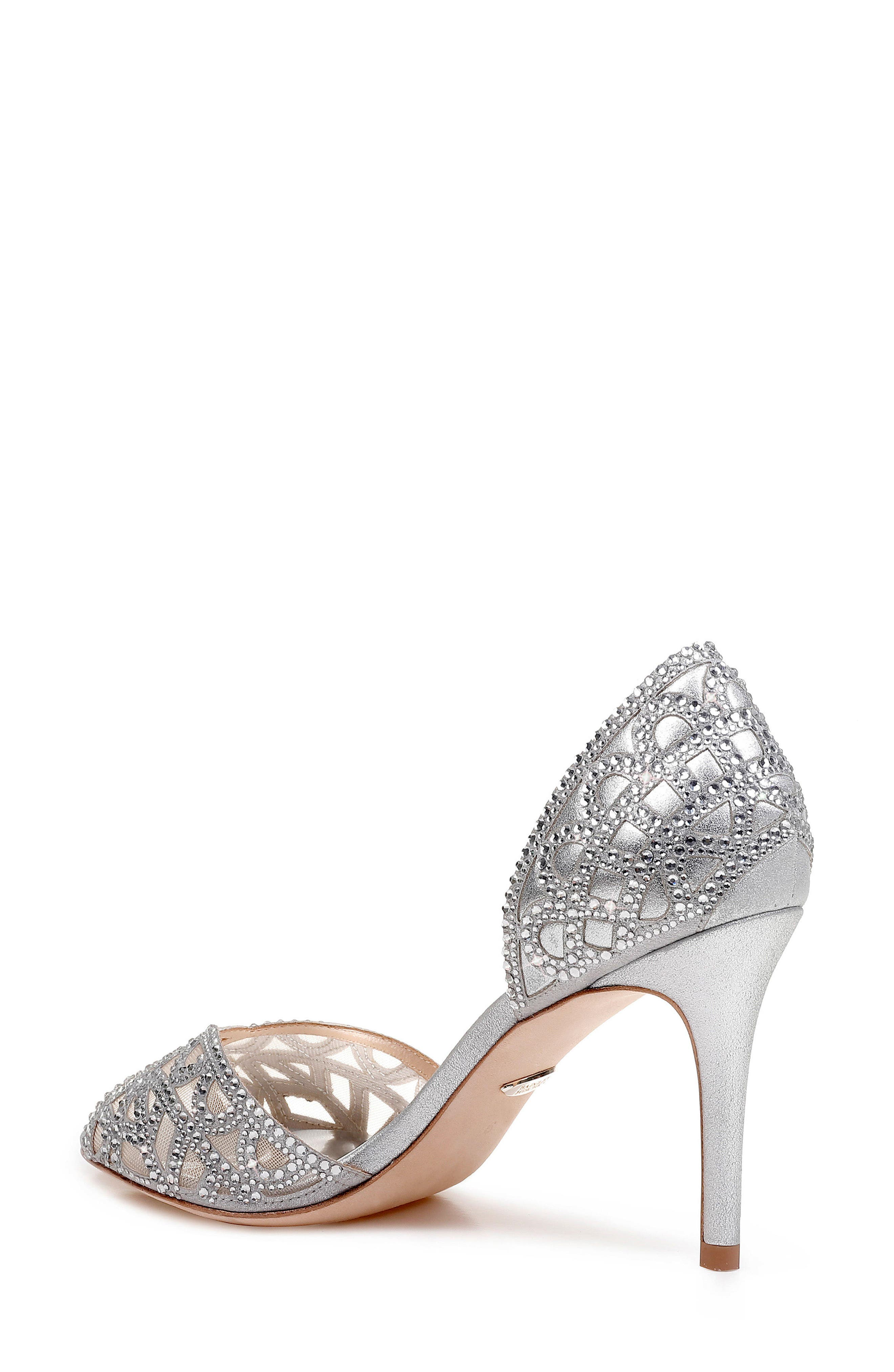 Harris Peep Toe Pump,                             Alternate thumbnail 2, color,                             SILVER METALLIC SUEDE