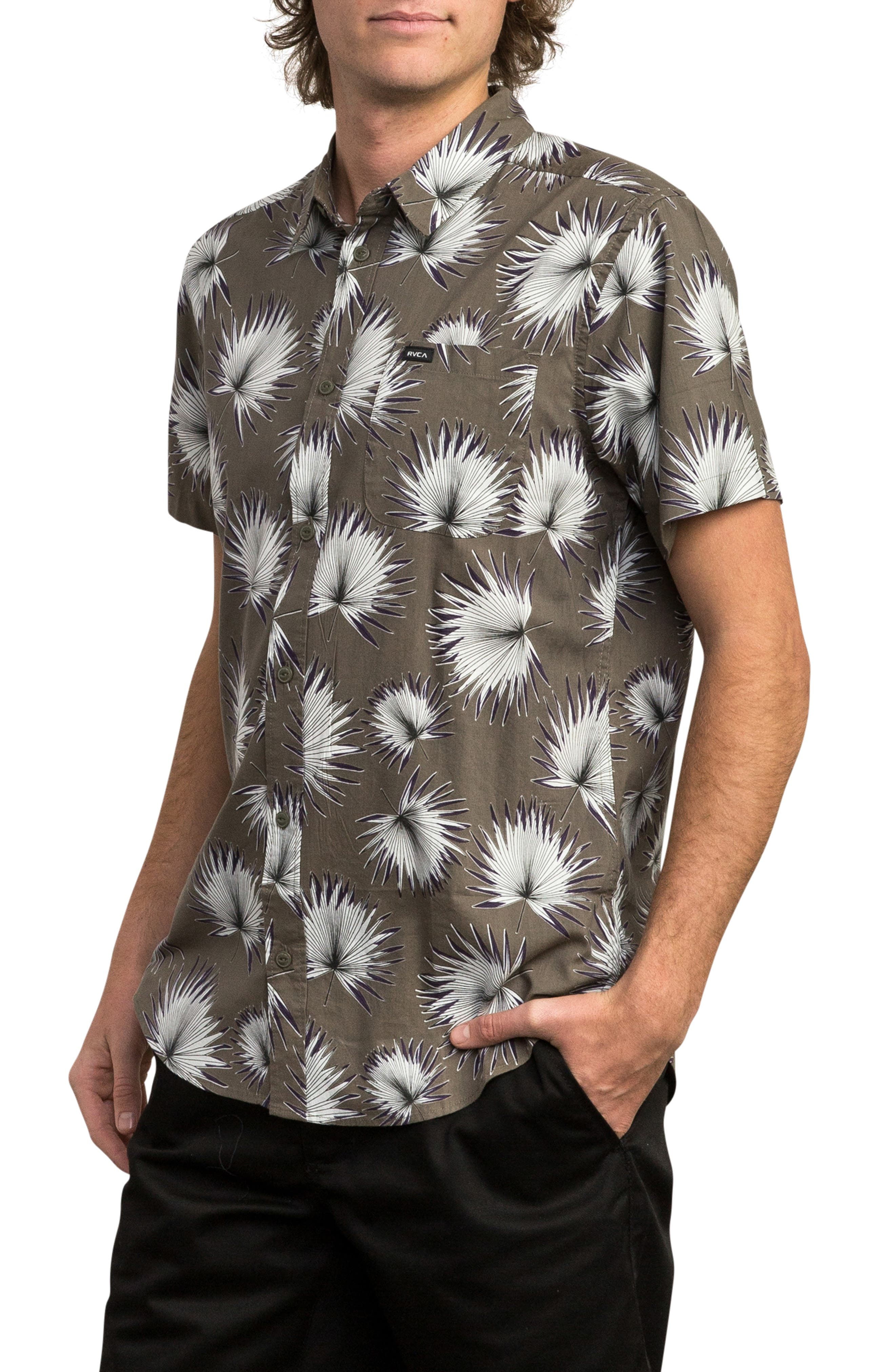 Palms Woven Shirt,                             Alternate thumbnail 3, color,                             OLIVE