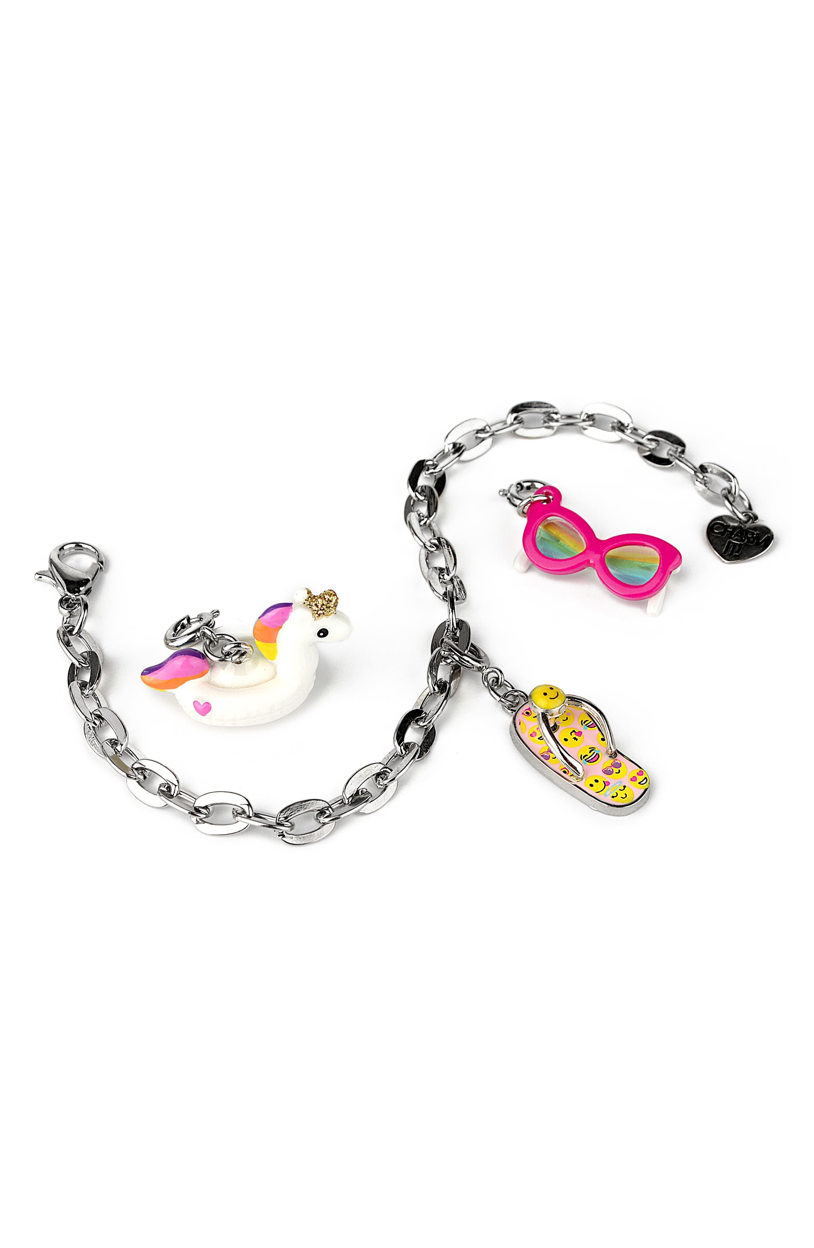 Girls High Intencity Charm It Fun In The Sun Charm Bracelet Gift Set