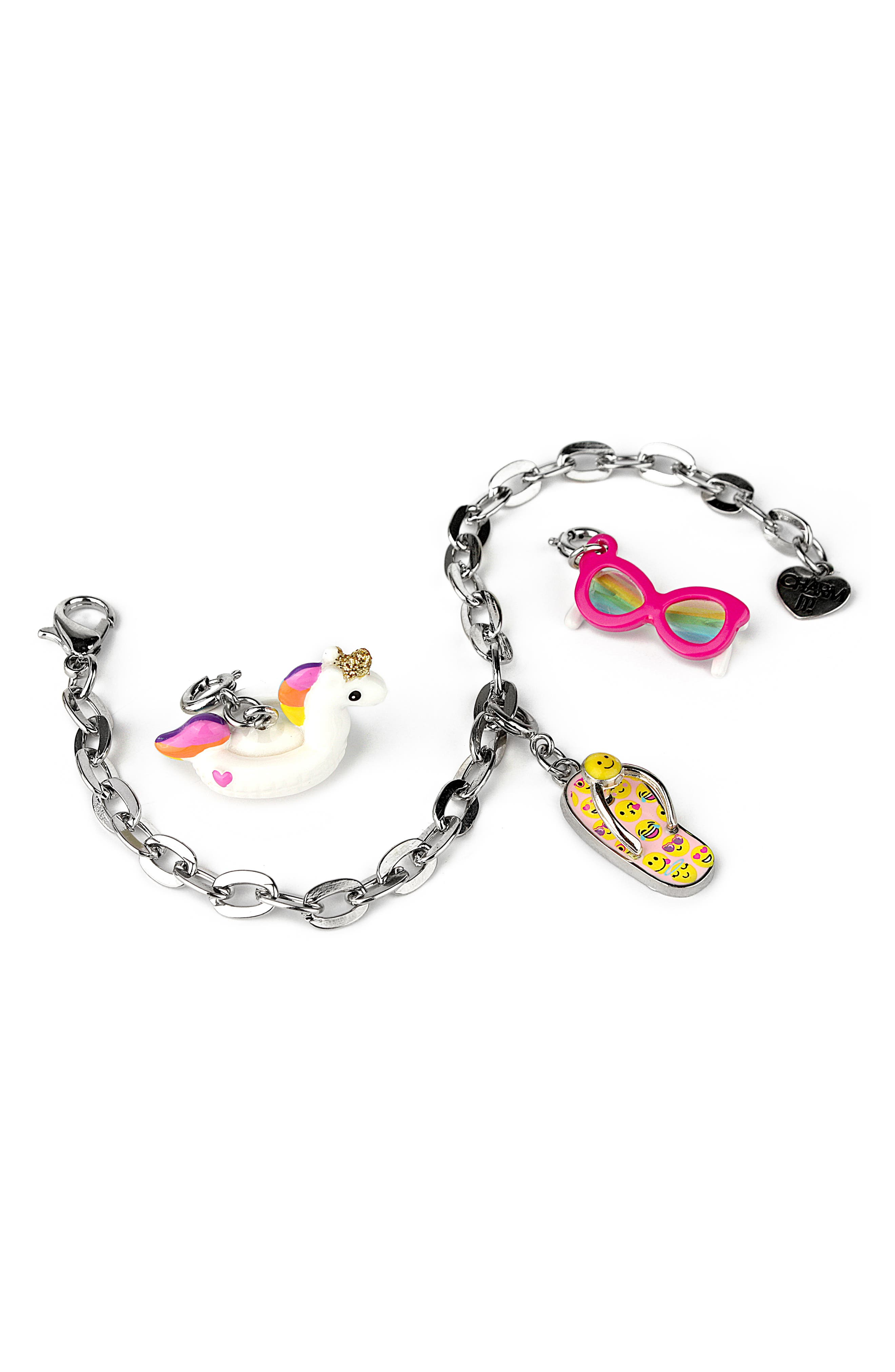 CHARM IT!<sup>®</sup> Fun In The Sun Charm Bracelet Gift Set,                             Main thumbnail 1, color,                             UNICORN FLOAT
