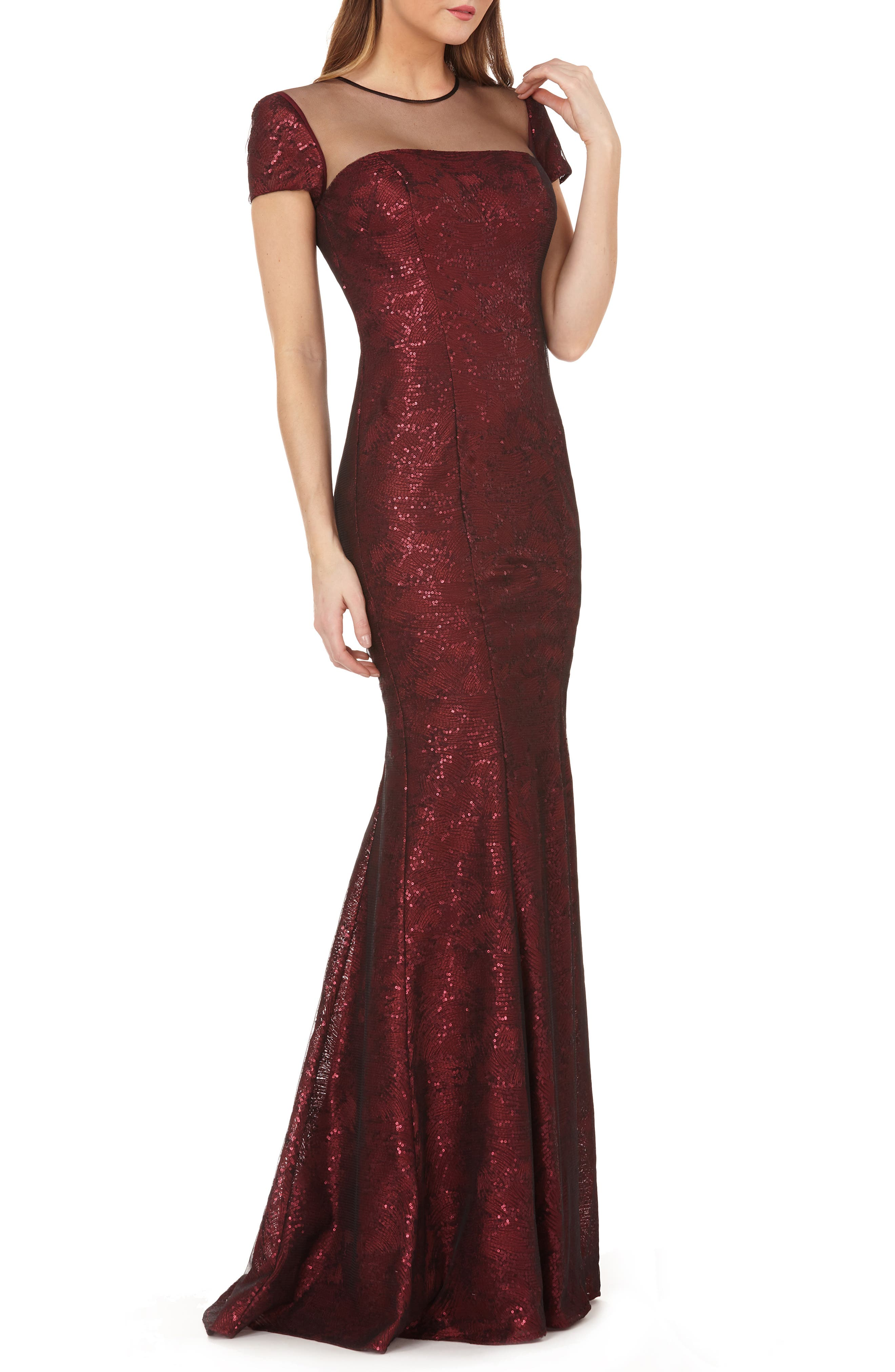 Carmen Marc Valvo Infusion Illusion Neck Sequin Trumpet Gown, Burgundy