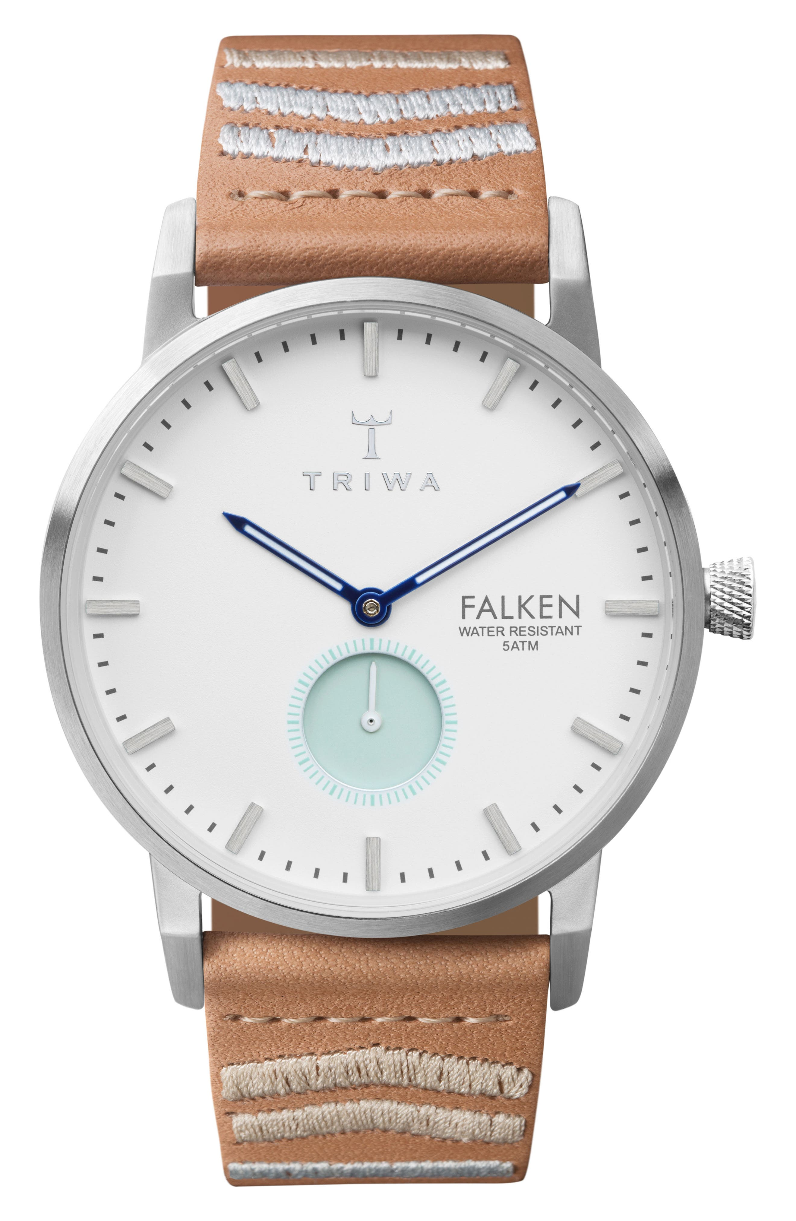 Wave Falken Embroidered Leather Strap Watch, 38mm,                             Main thumbnail 1, color,                             TAN EMBROIDERED/ WHITE/ SILVER