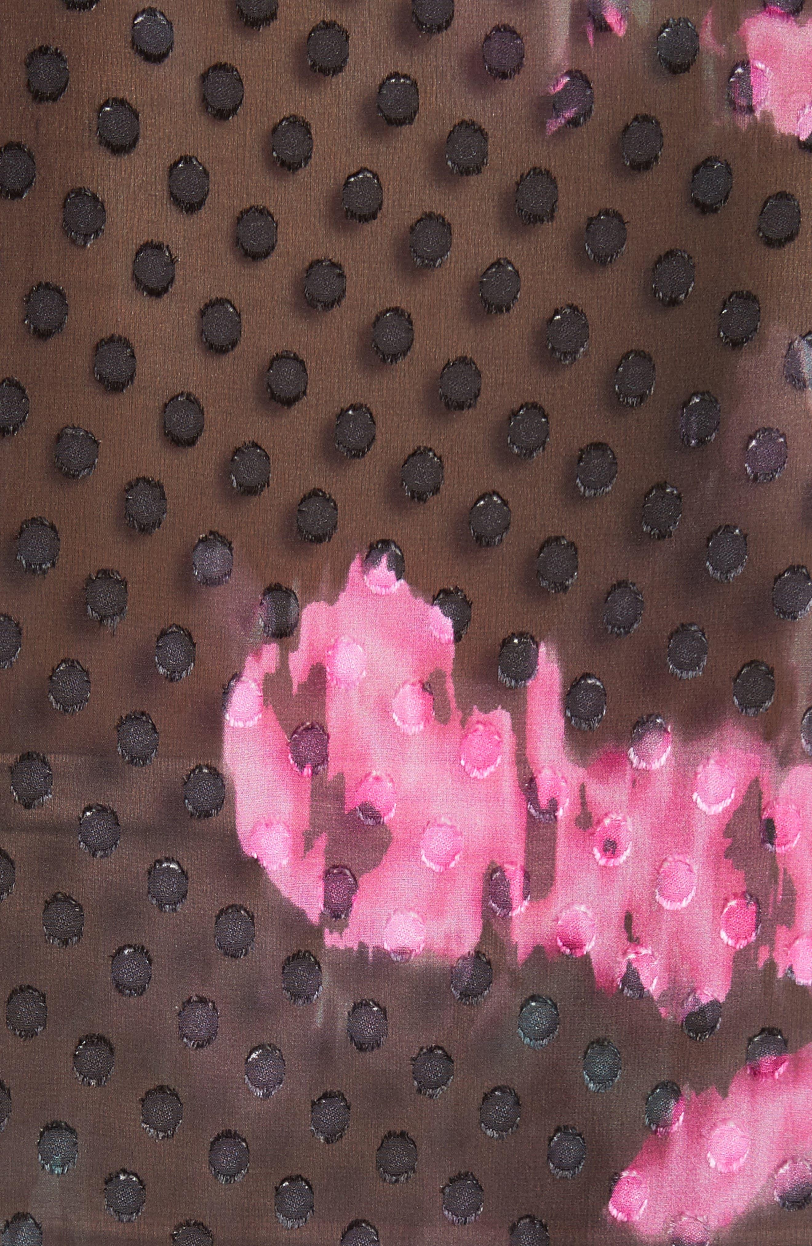 Floral Silk Blouse,                             Alternate thumbnail 5, color,                             009