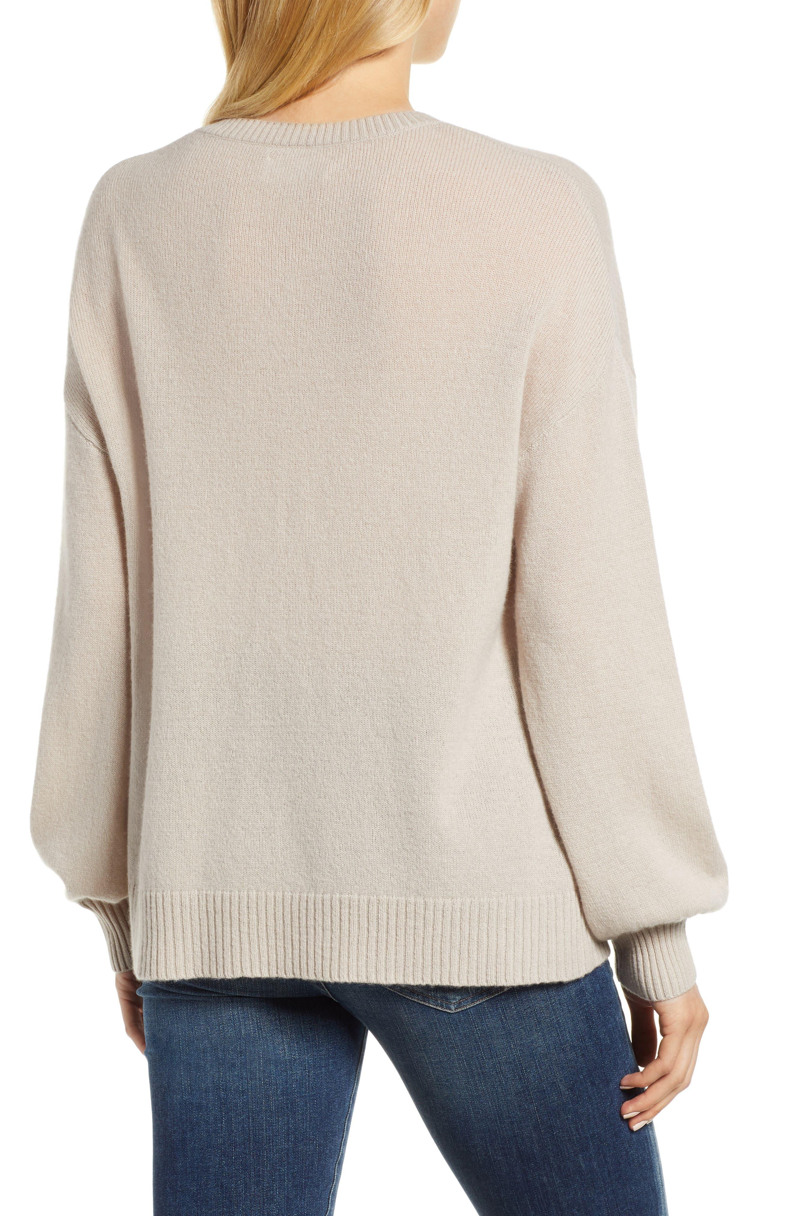 Blouson Sleeve Cashmere Sweater,                             Alternate thumbnail 2, color,                             MUSHROOM