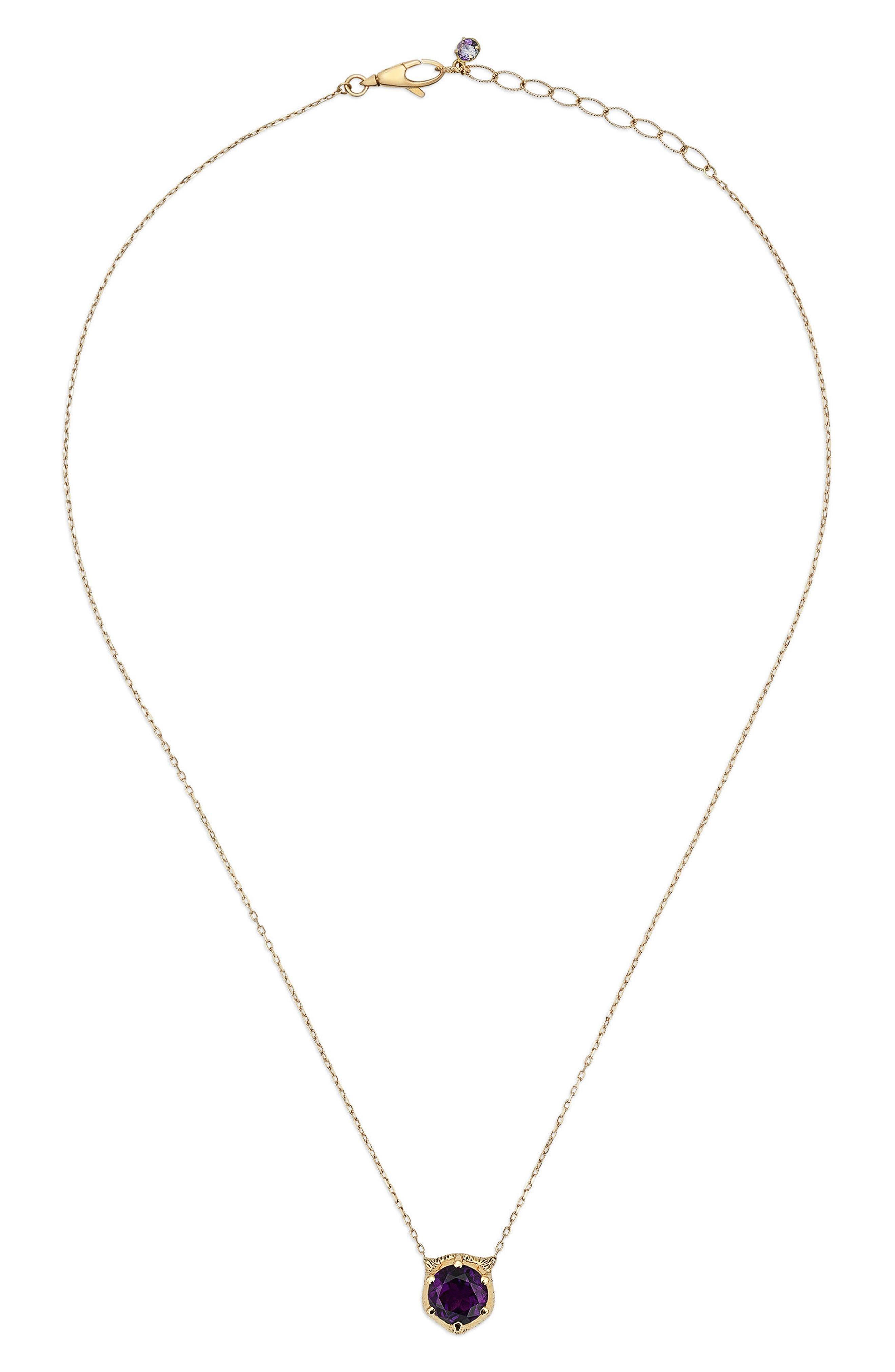 Le Marche Feline Head Pendant Necklace,                             Alternate thumbnail 2, color,                             YELLOW GOLD/ PURPLE