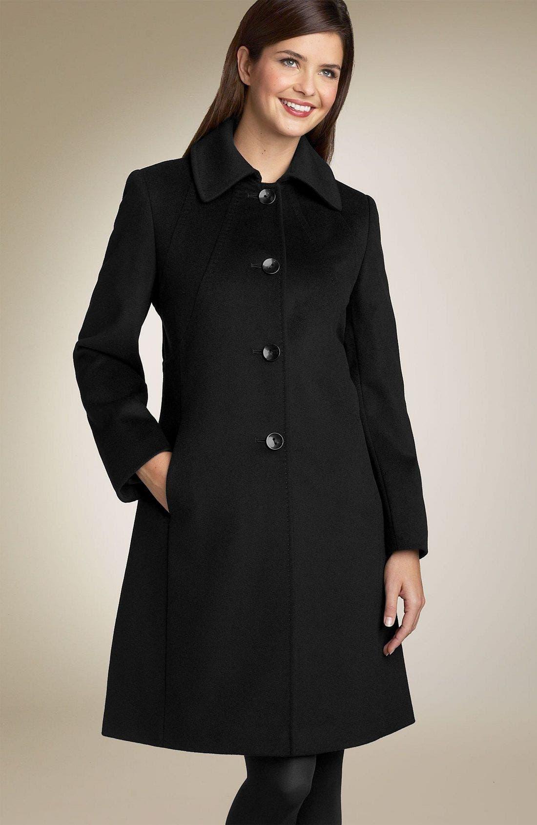 Cashmere Blend Coat,                             Main thumbnail 1, color,                             BLK