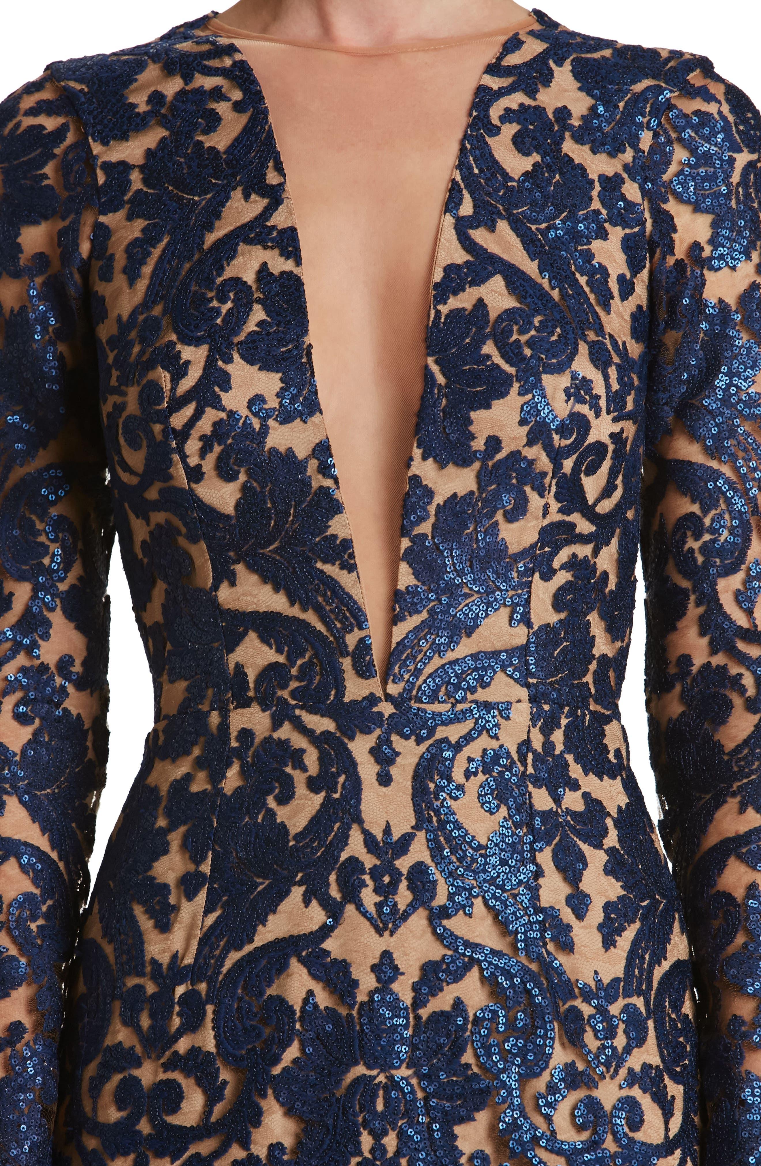 Claudia Plunging Illusion Sequin Lace Minidress,                             Alternate thumbnail 24, color,