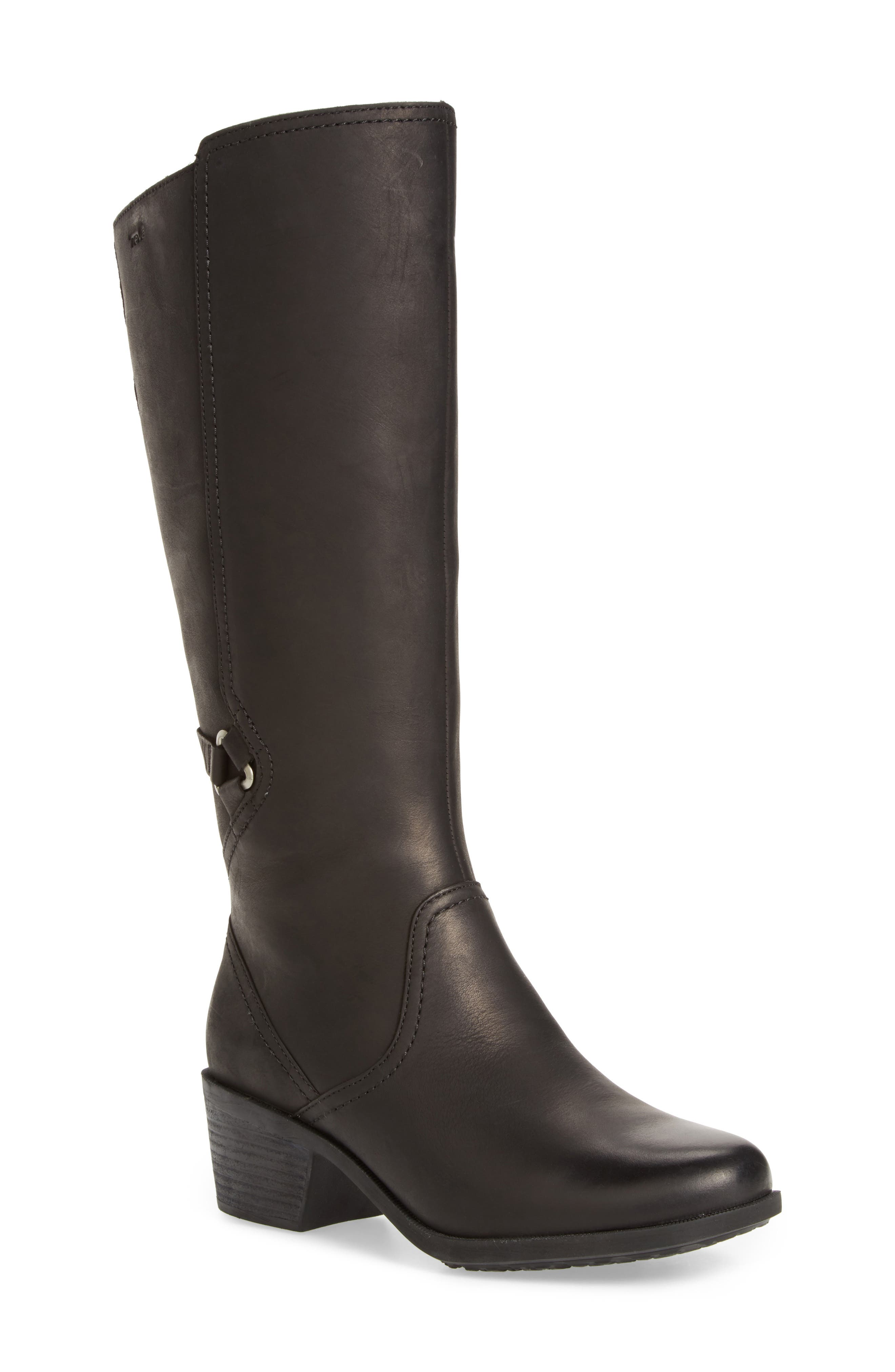 Foxy Waterproof Boot,                             Main thumbnail 1, color,                             BLACK LEATHER