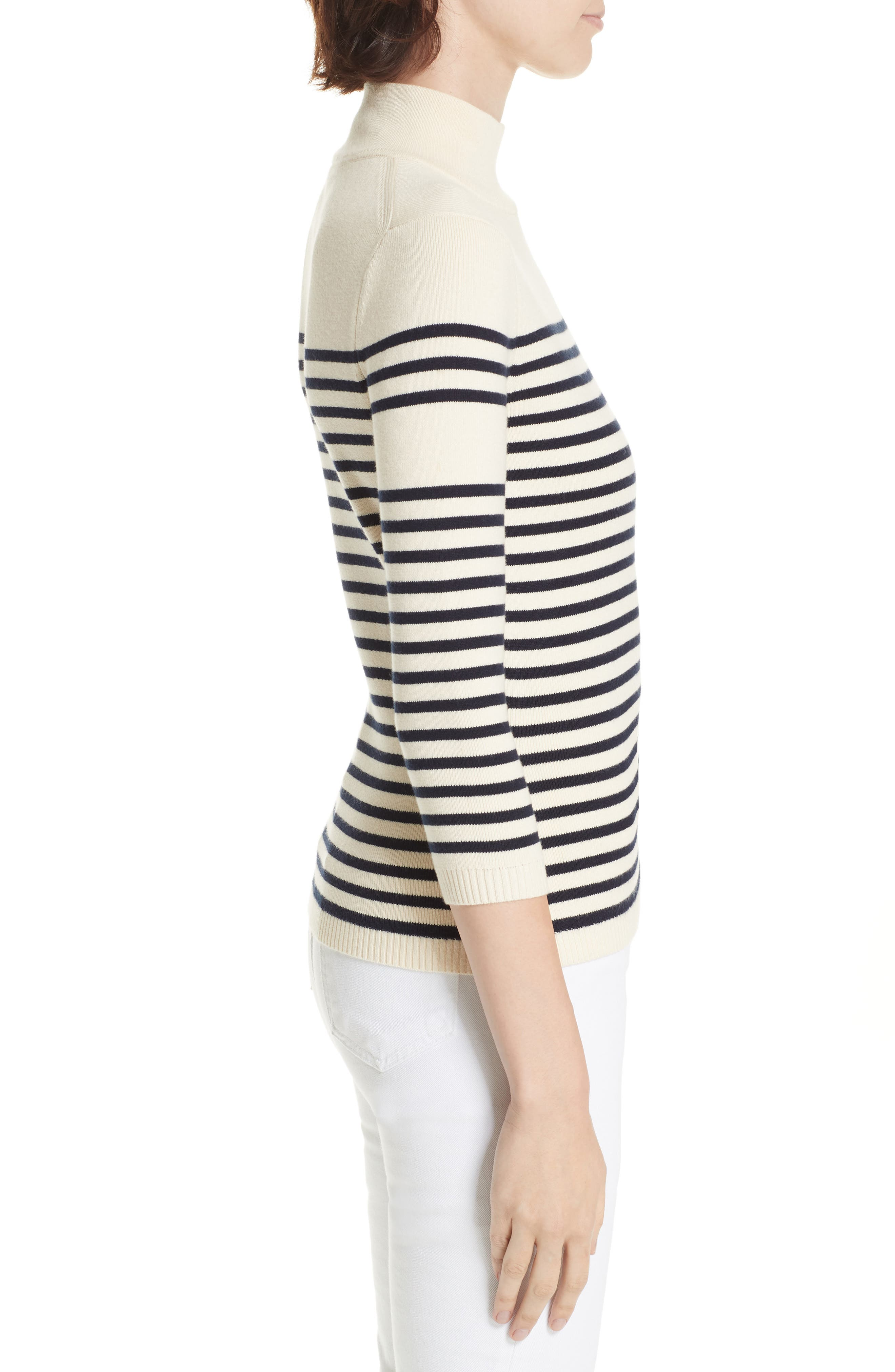 Classique Stripe Sweater,                             Alternate thumbnail 3, color,                             CREAM/ NAVY STRIPES