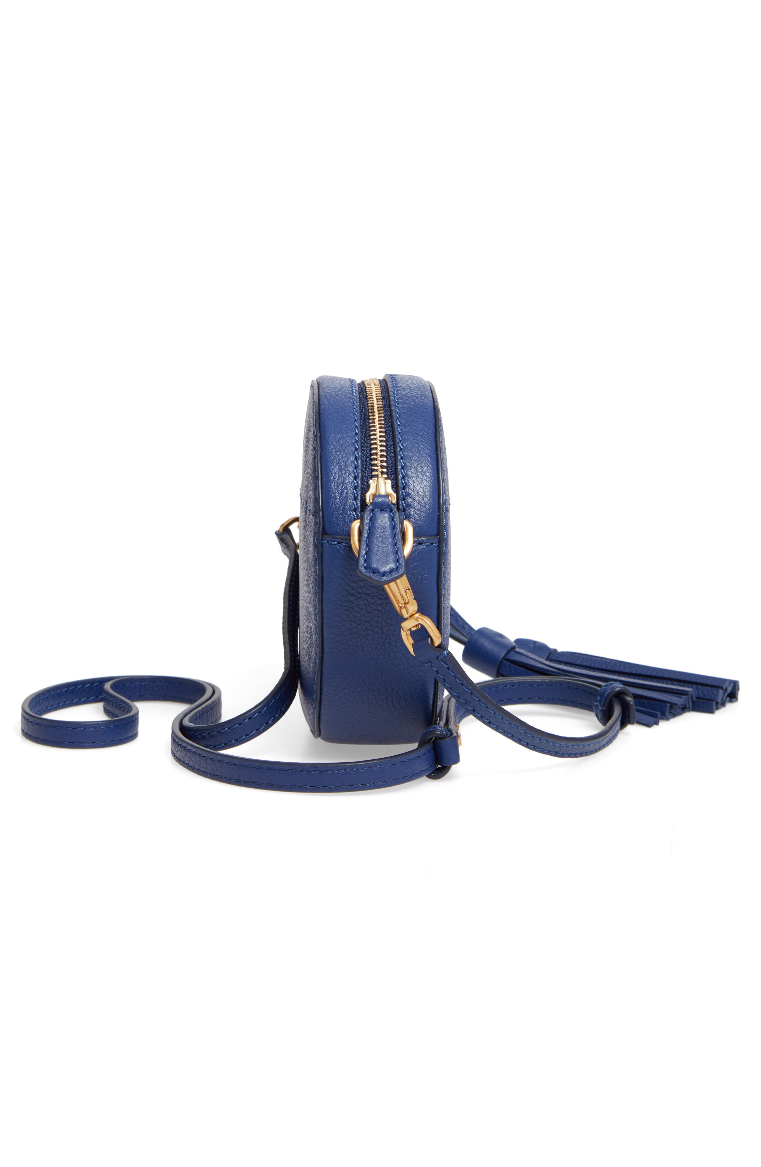 McGraw Leather Crossbody Bag,                             Alternate thumbnail 5, color,                             BRIGHT INDIGO