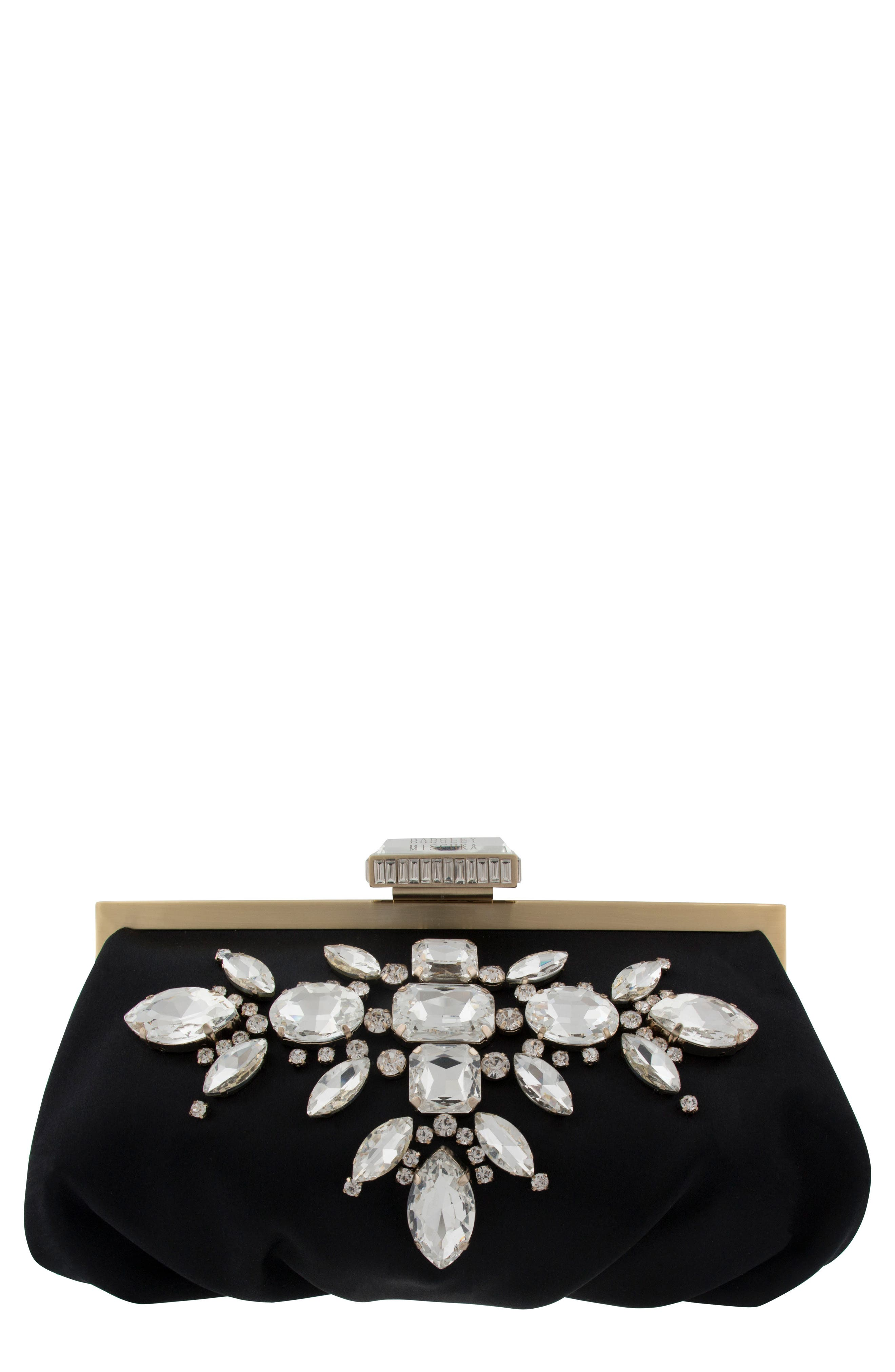 Glow Embellished Frame Clutch,                             Main thumbnail 1, color,                             001