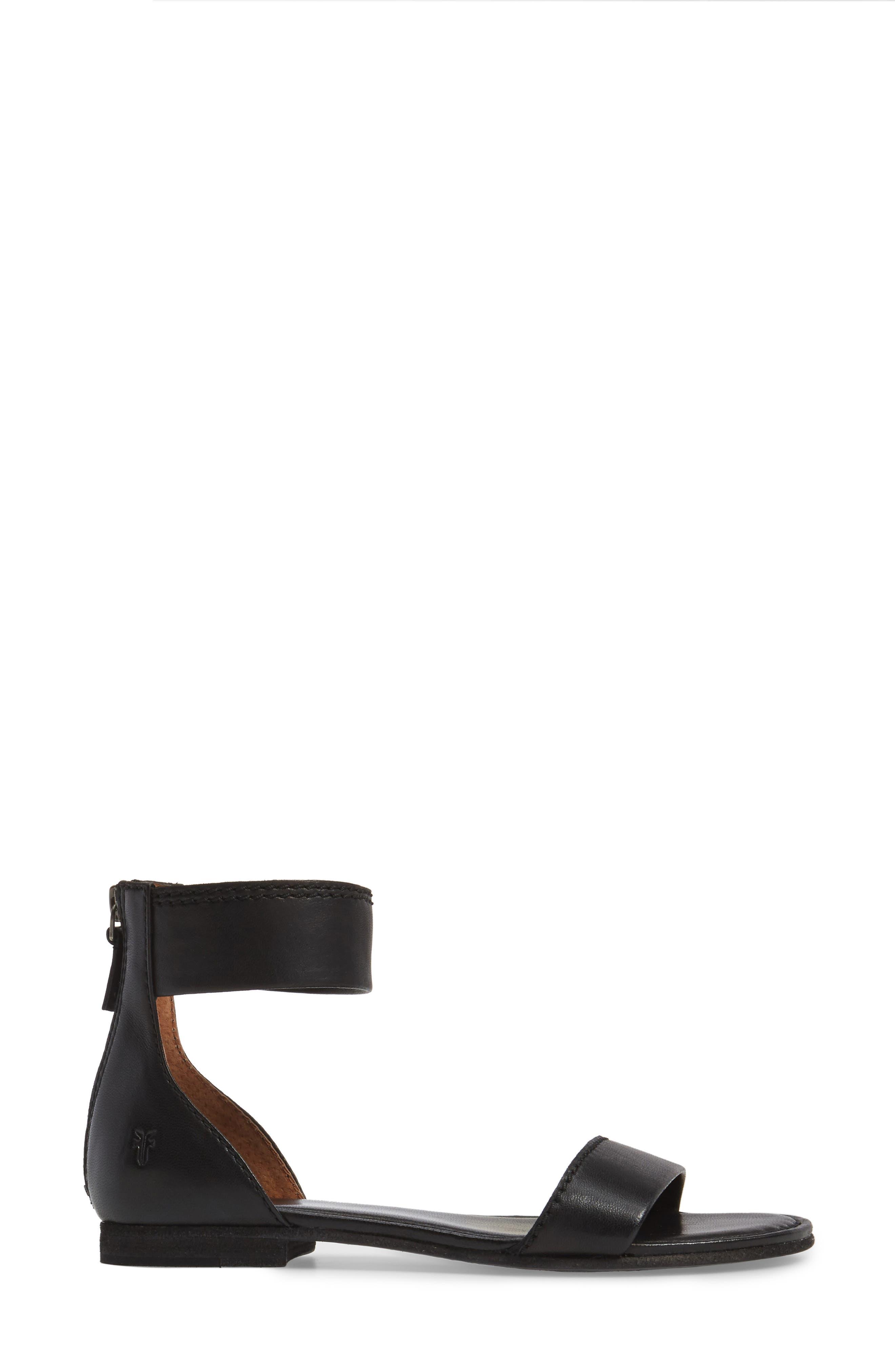 Carson Ankle Strap Sandal,                             Alternate thumbnail 3, color,                             001