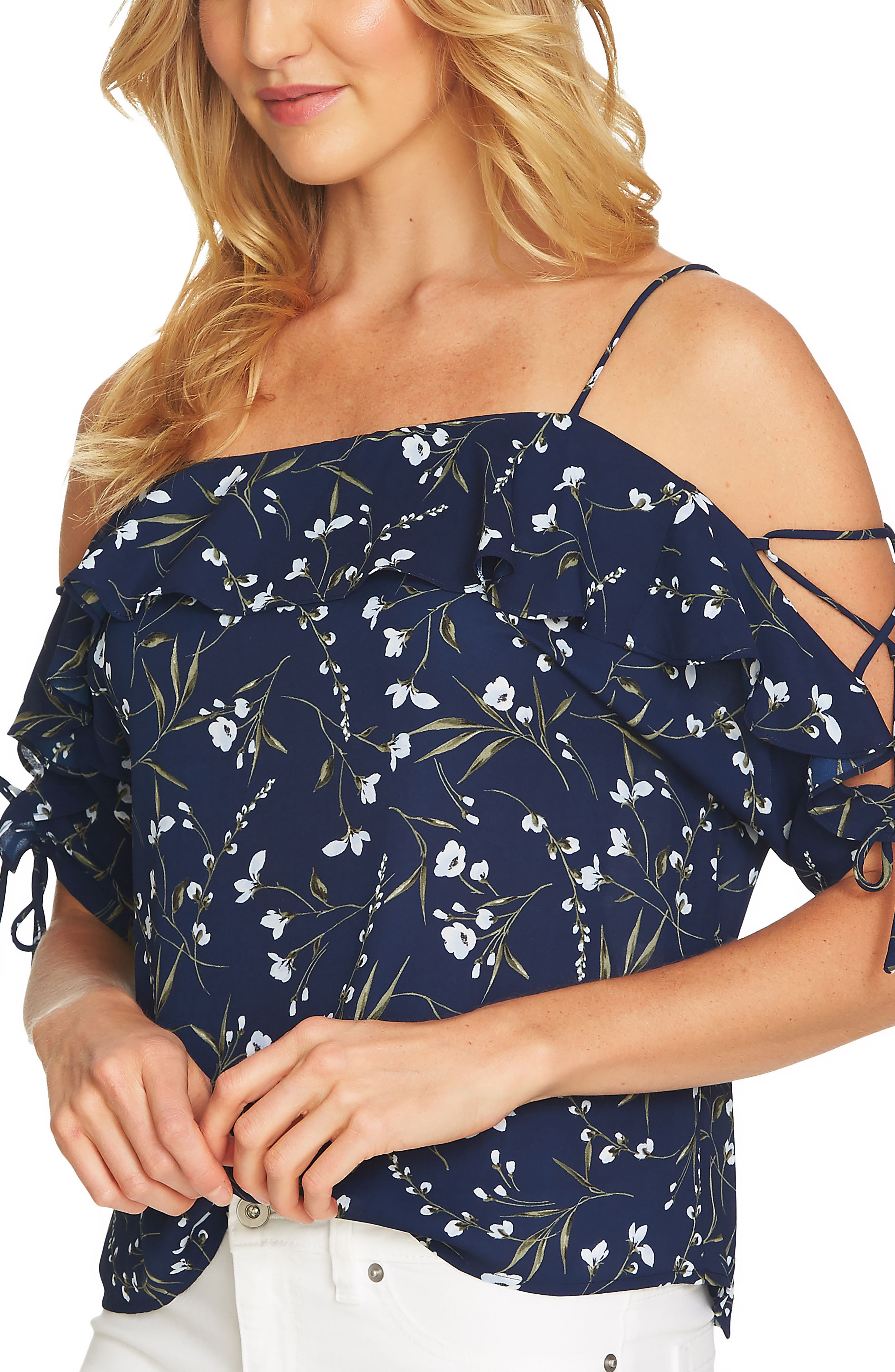 Cold Shoulder Laced Sleeve Floral Top,                             Main thumbnail 1, color,                             429