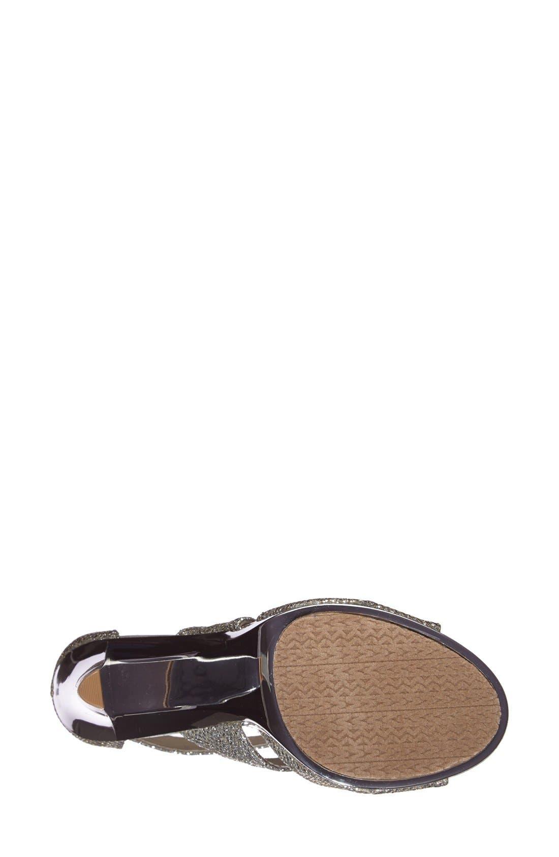 'Berkley' T-Strap Sandal,                             Alternate thumbnail 4, color,                             SILVER GLITTER