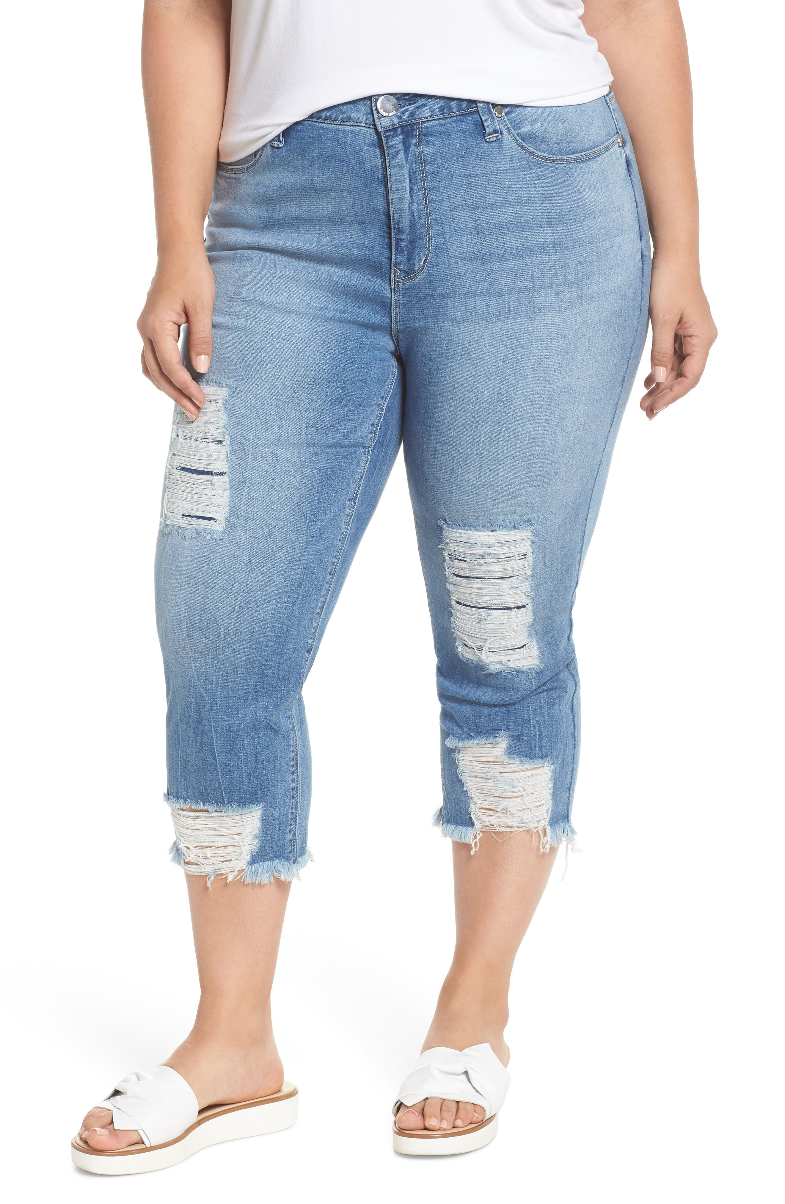 High Rise Distressed Crop Jeans,                         Main,                         color, 492