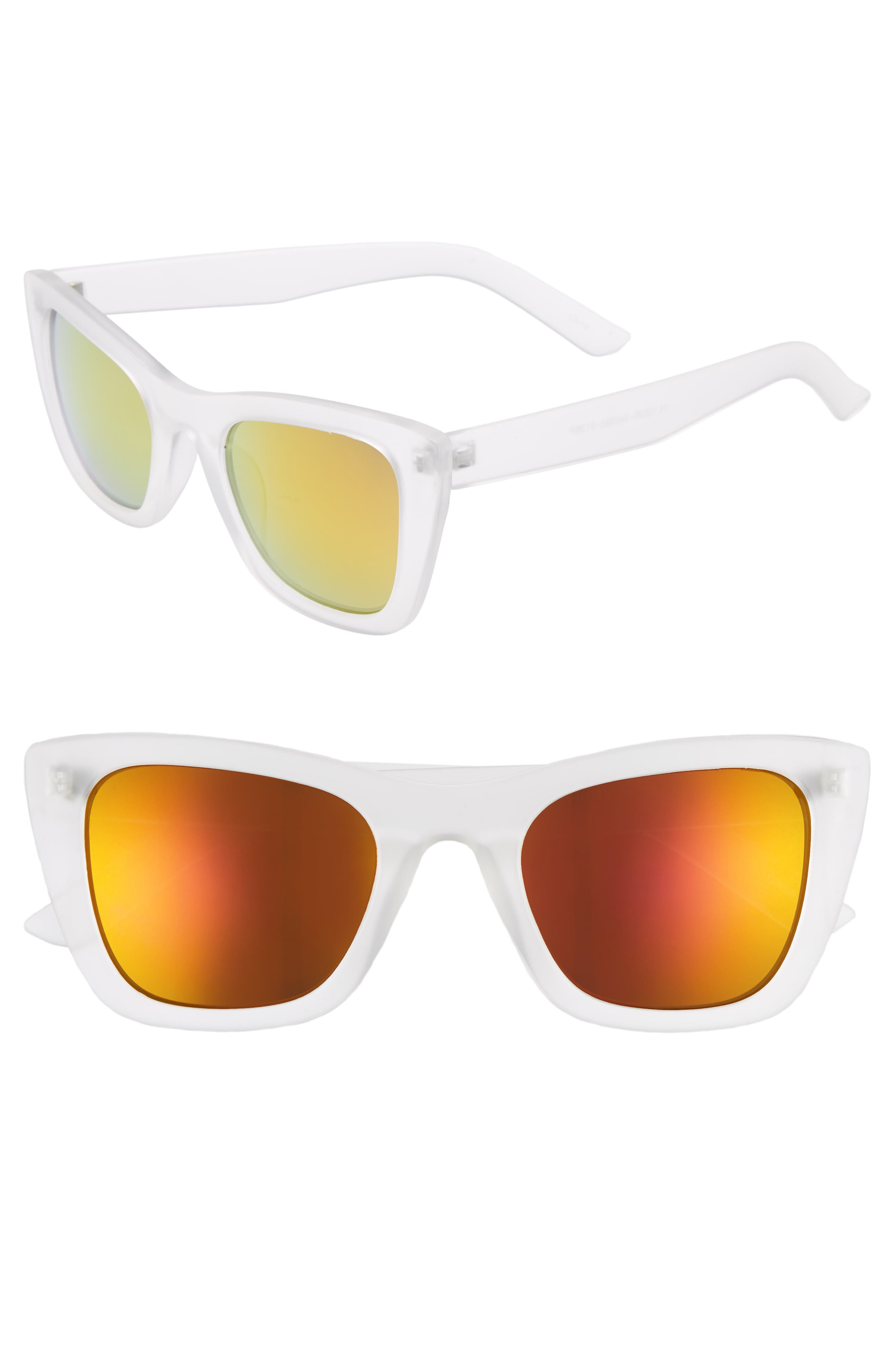 51mm Translucent Square Sunglasses,                         Main,                         color, CLEAR/ GOLD