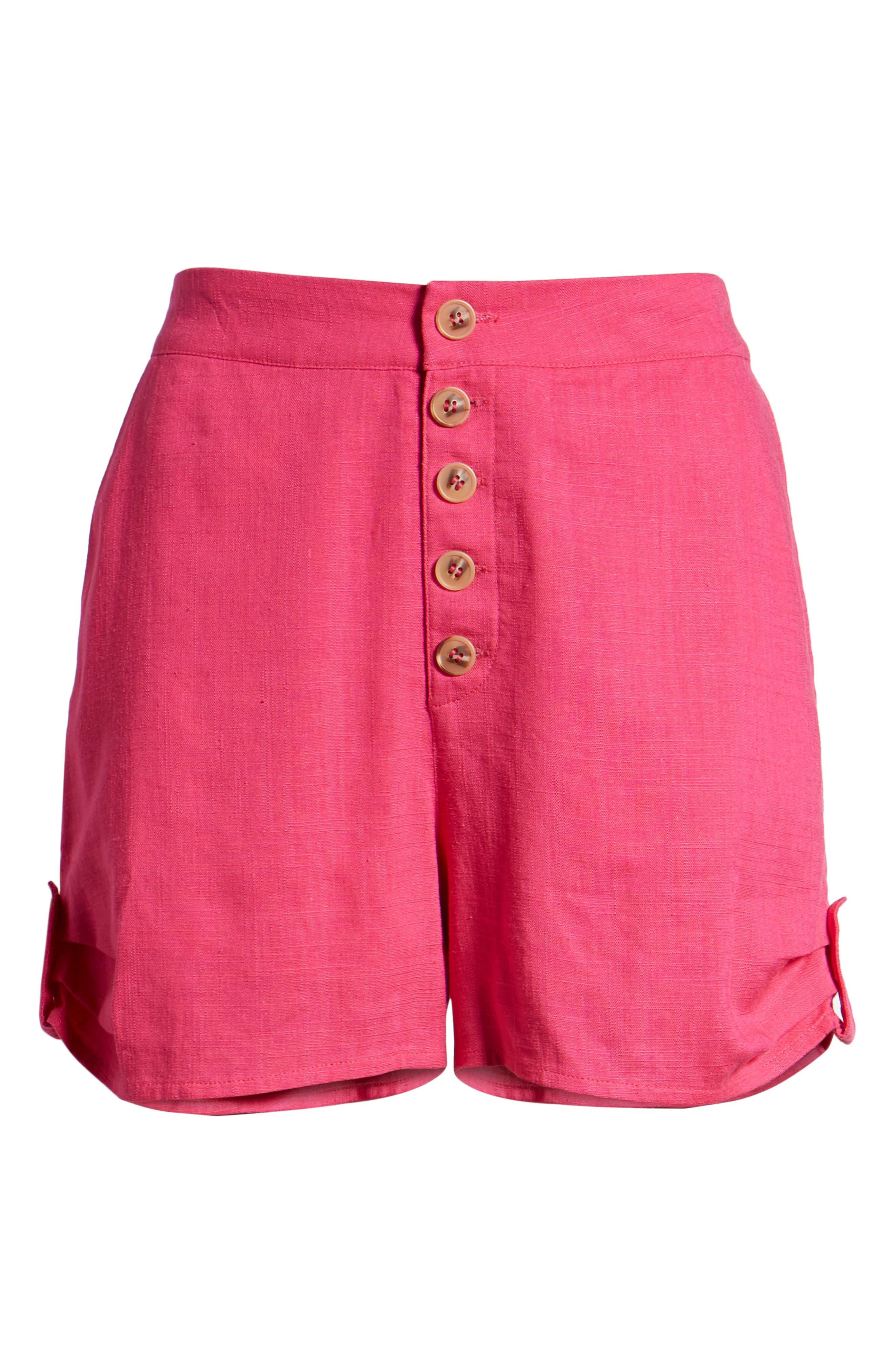 Button Front Linen & Cotton Shorts,                             Alternate thumbnail 6, color,                             650