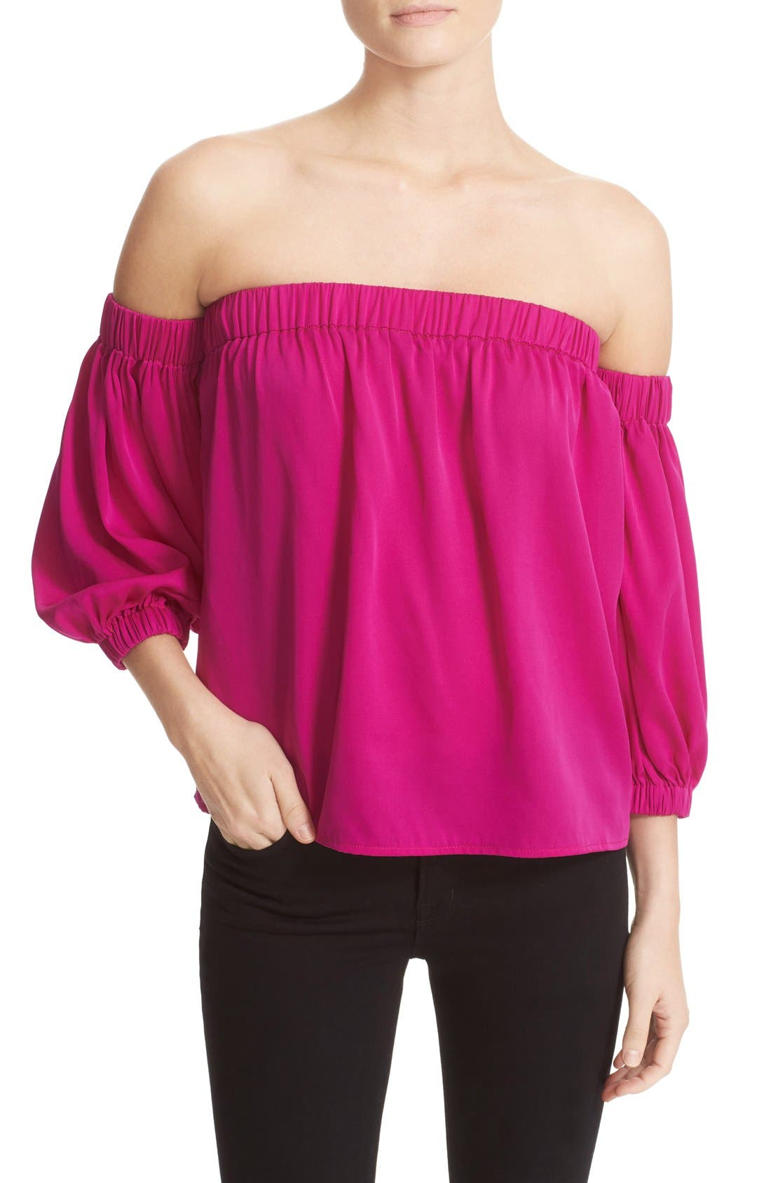 Stretch Silk Off the Shoulder Top,                             Main thumbnail 1, color,                             662