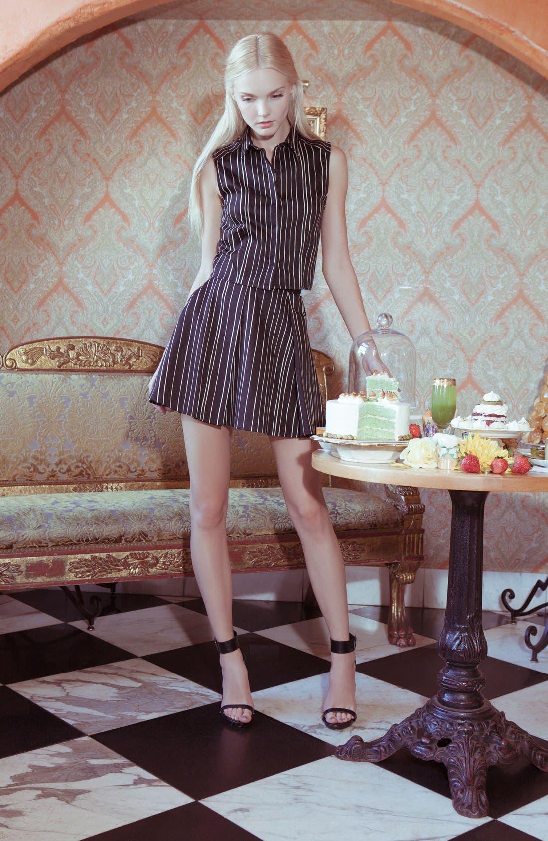 'Libby' Stripe Flared Skirt,                             Alternate thumbnail 4, color,