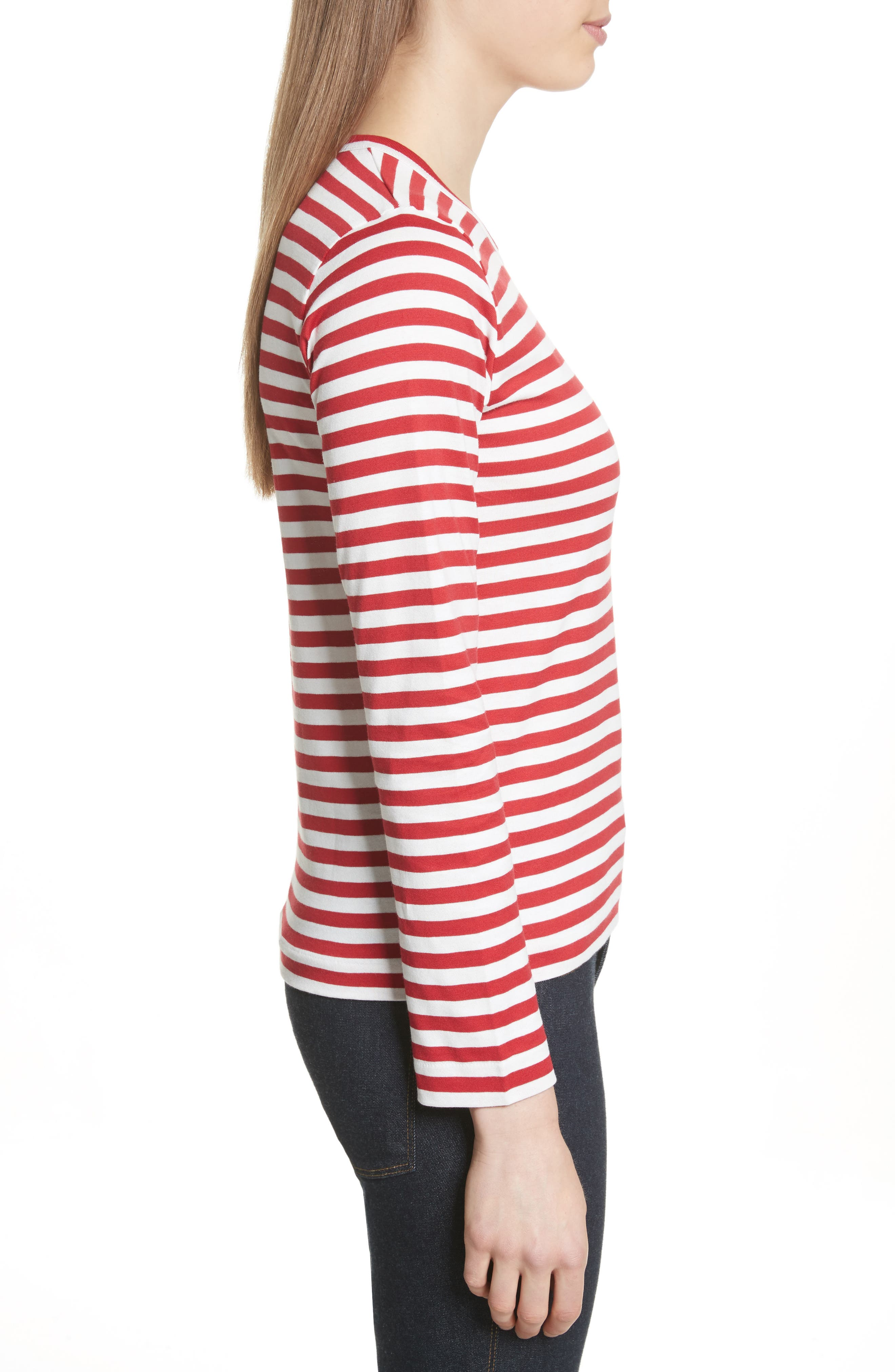 Stripe Cotton Tee,                             Alternate thumbnail 3, color,                             RED/ WHITE