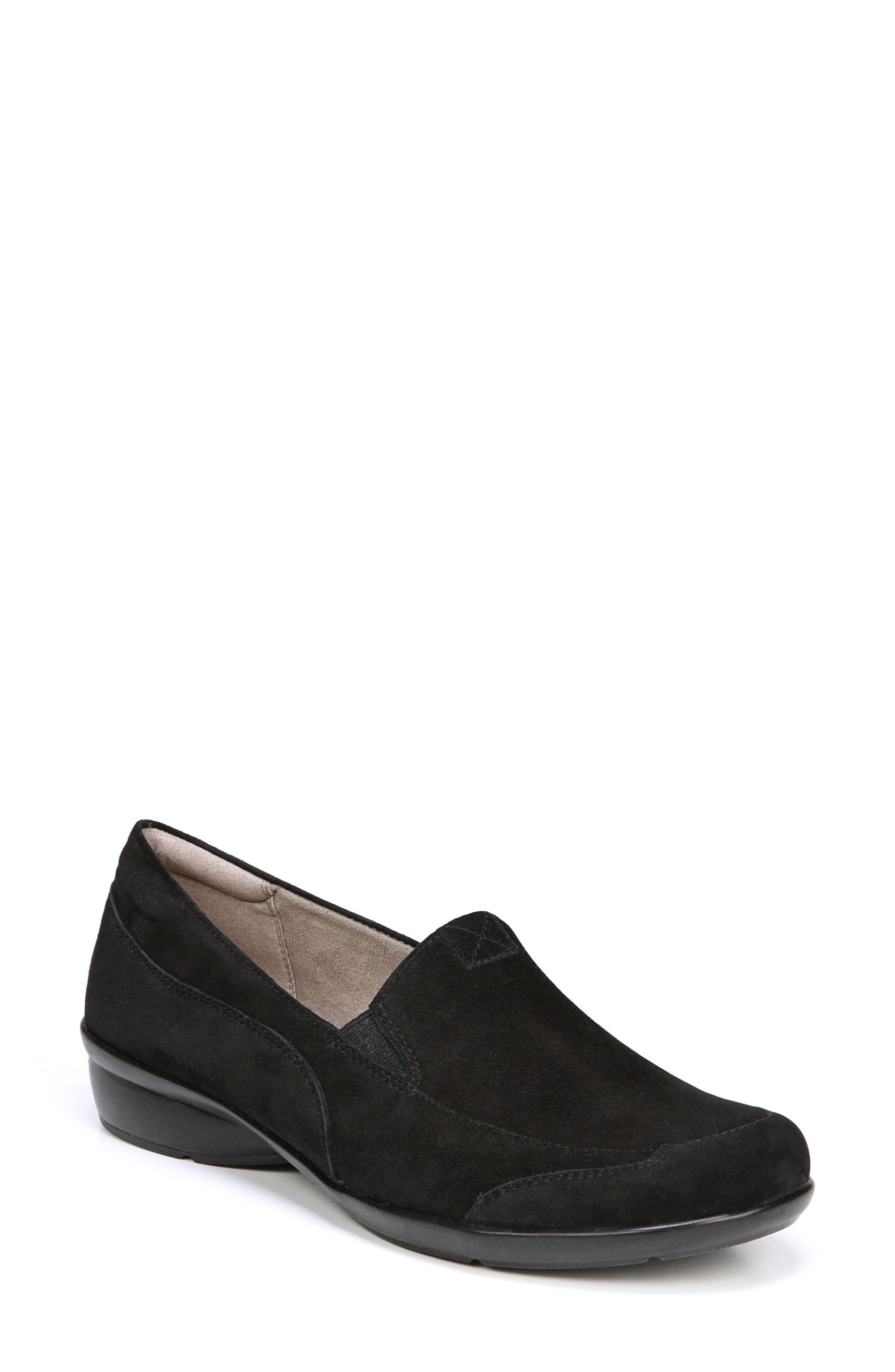 'Channing' Loafer,                             Main thumbnail 1, color,                             BLACK SUEDE