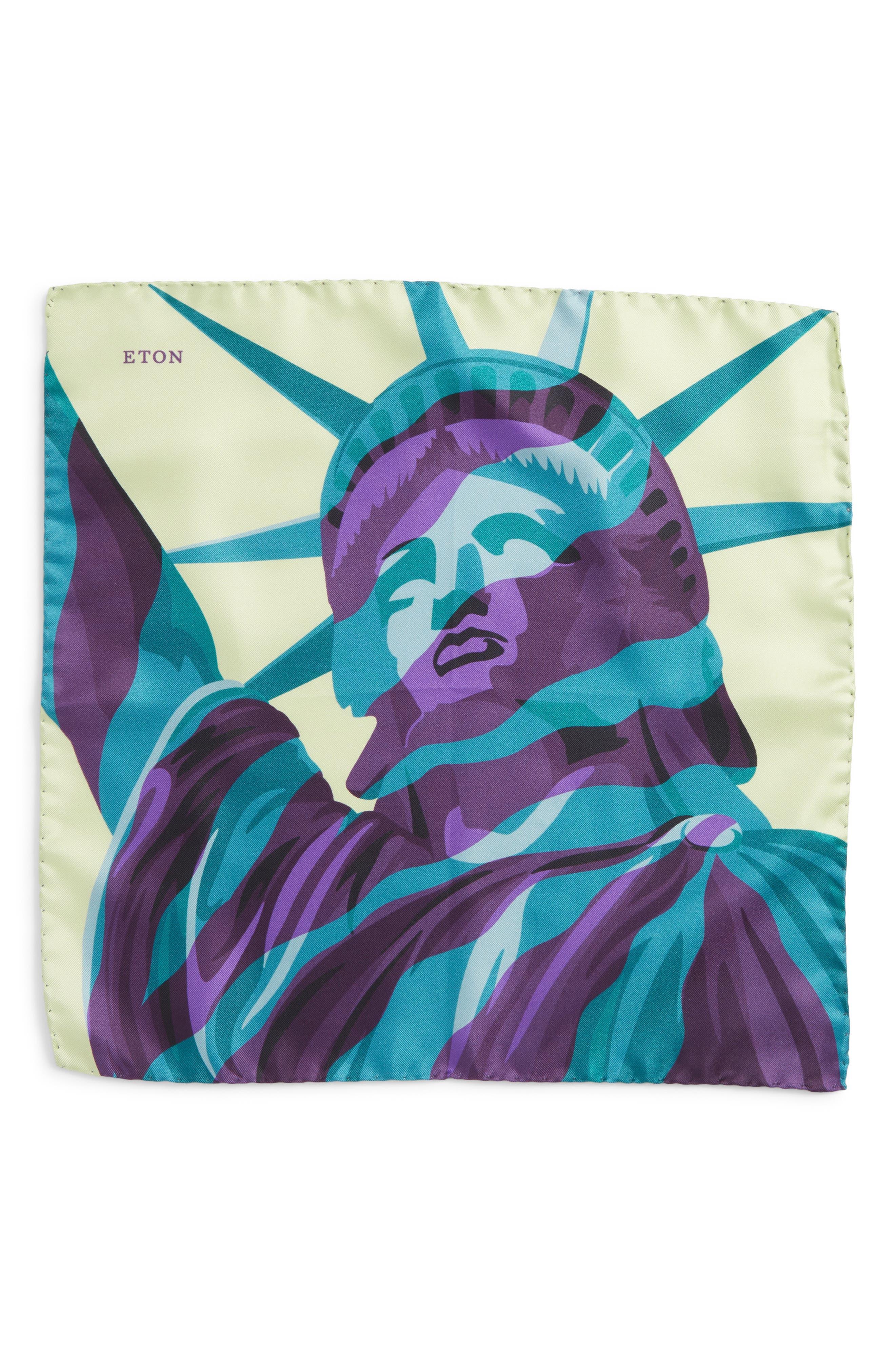 ETON,                             Statue of Liberty Silk Pocket Square,                             Alternate thumbnail 2, color,                             GREEN