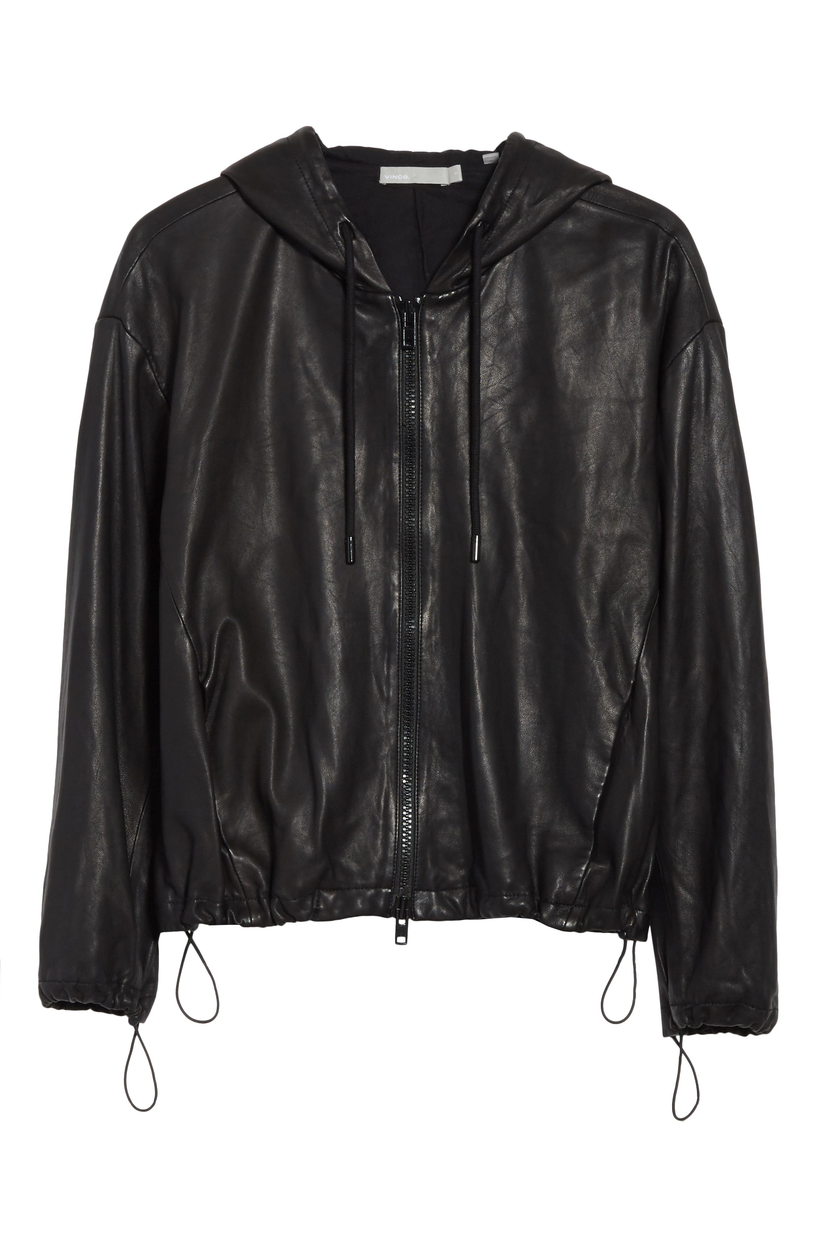 Leather Zip-Up Hoodie,                             Alternate thumbnail 5, color,                             001
