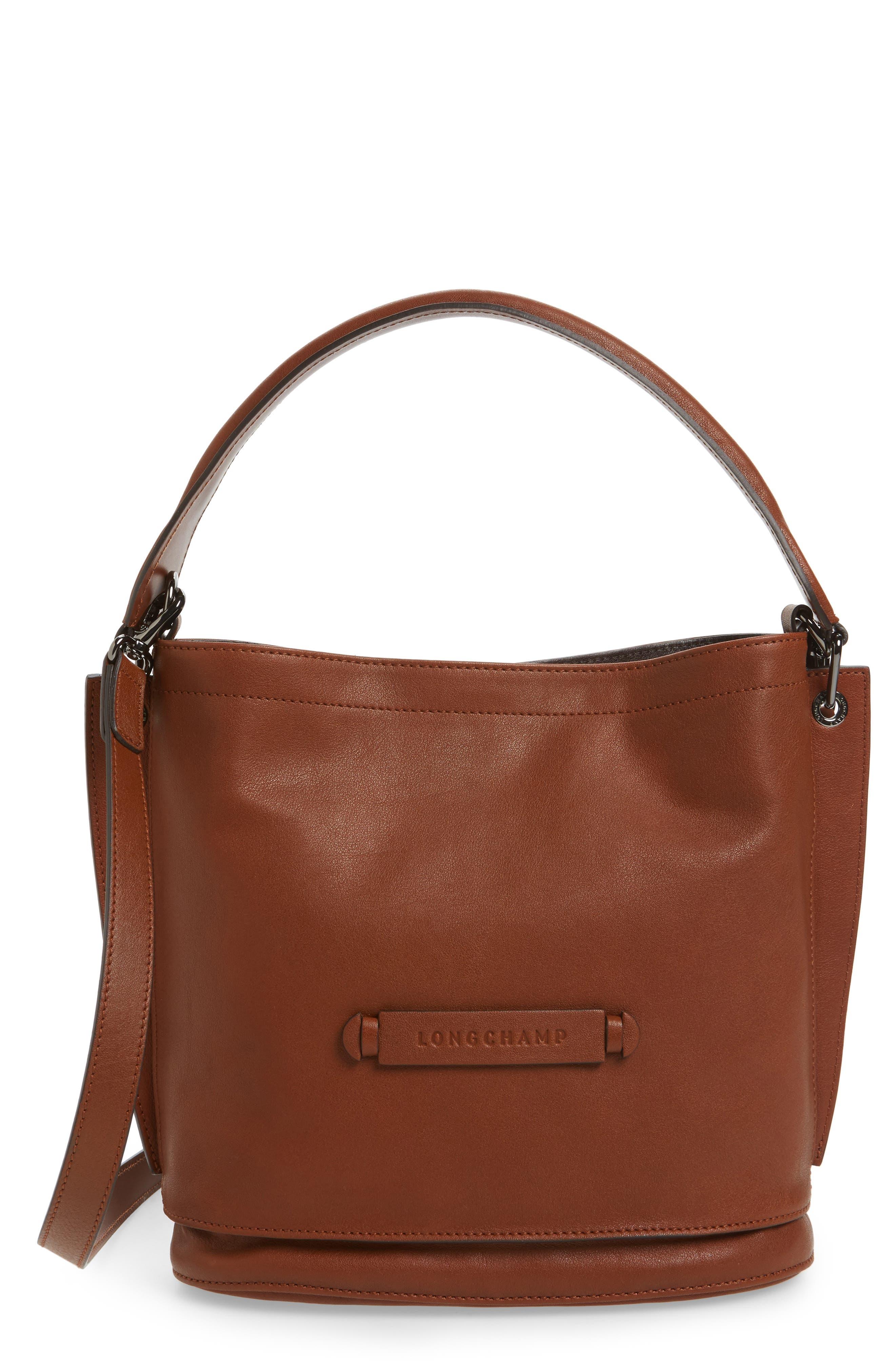 3D Leather Bucket Bag,                         Main,                         color, COGNAC