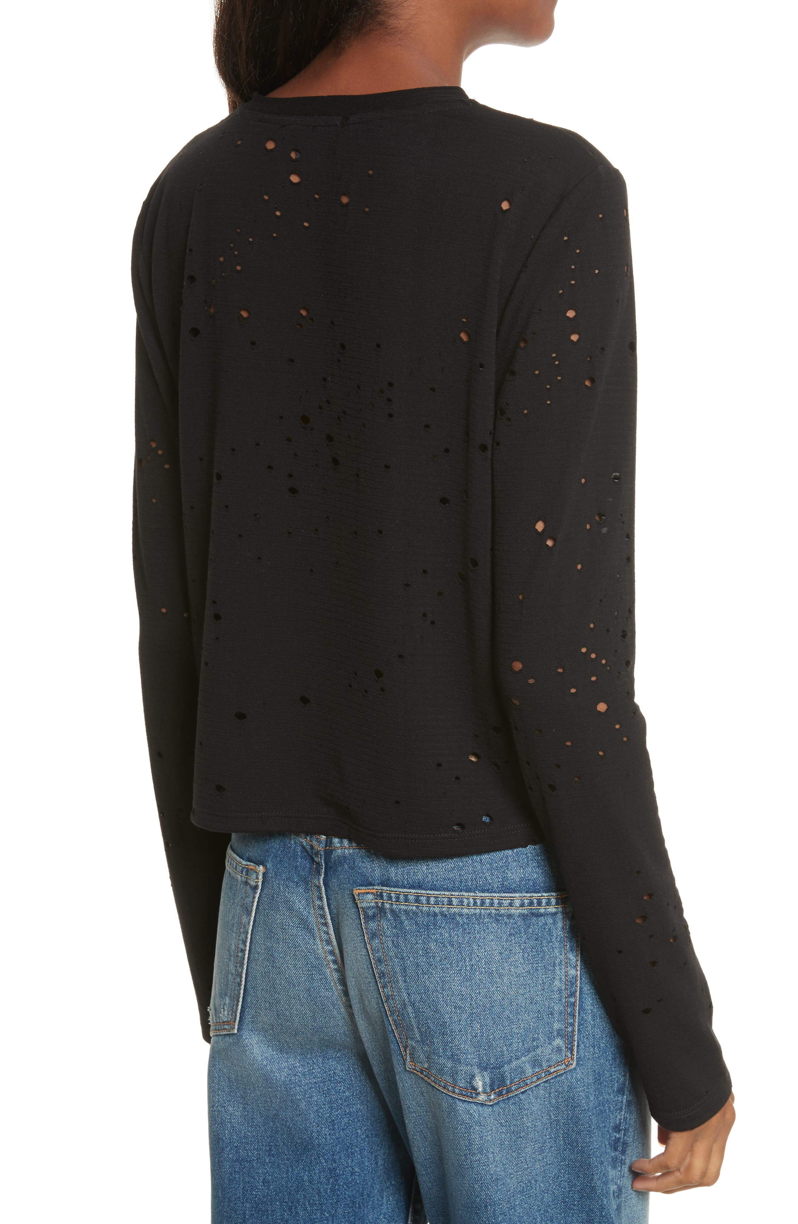 Waverly Perforated Crop Tee,                             Alternate thumbnail 2, color,                             001