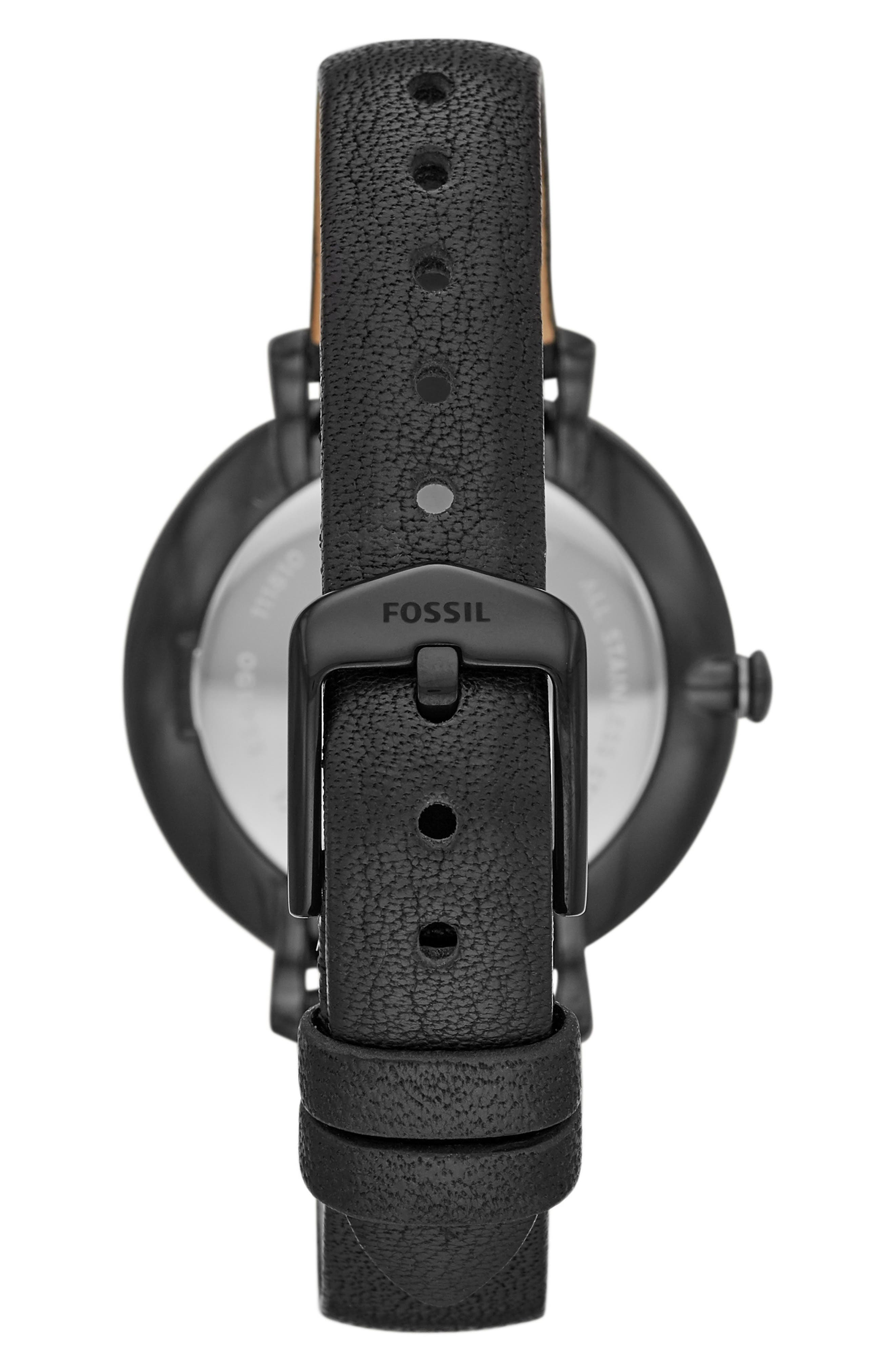 FOSSIL,                             Jacqueline Leather Strap Watch, 36mm,                             Alternate thumbnail 2, color,                             BLACK