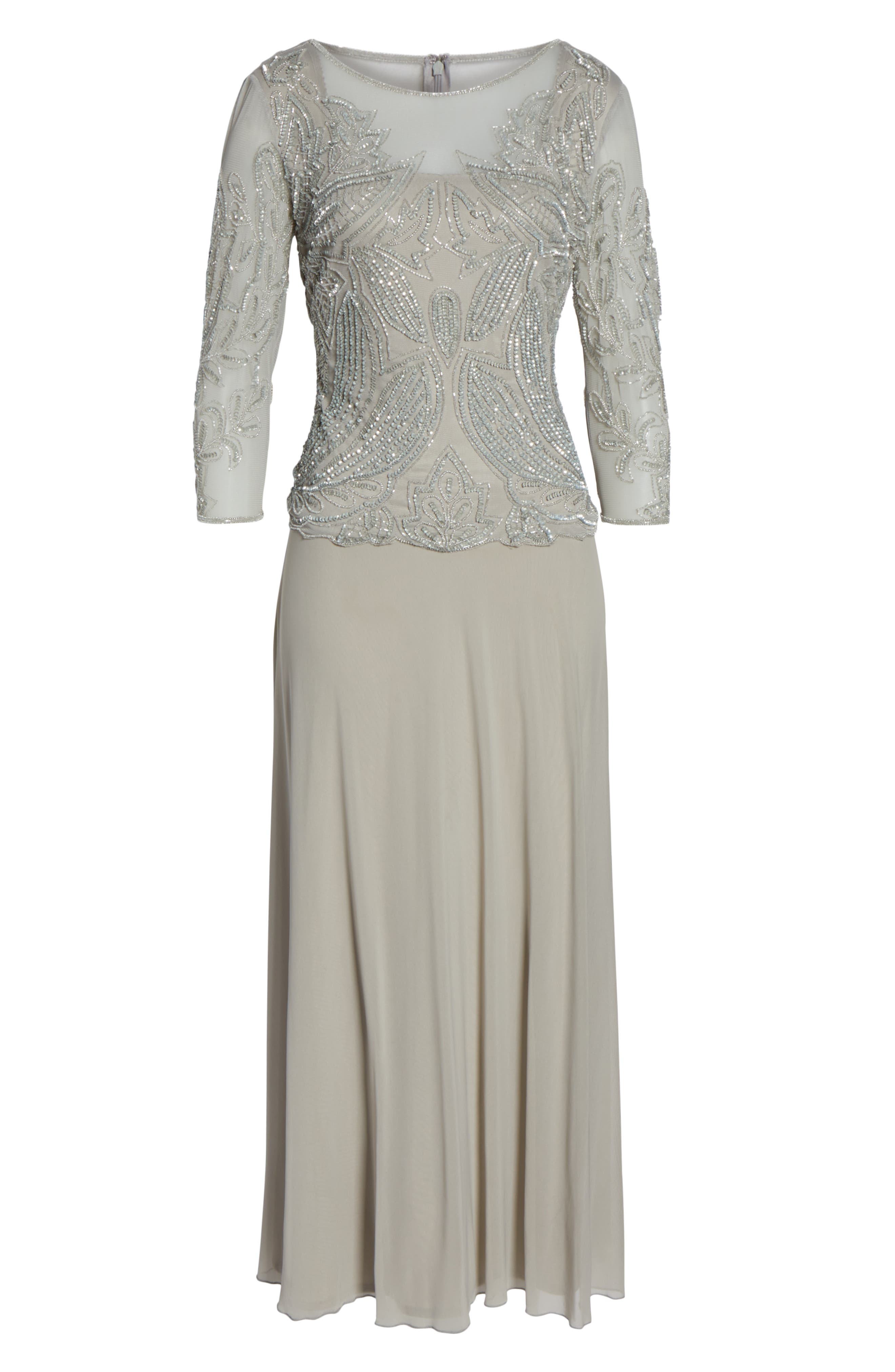 Embellished Mesh Gown,                             Alternate thumbnail 7, color,                             SILVER GREY