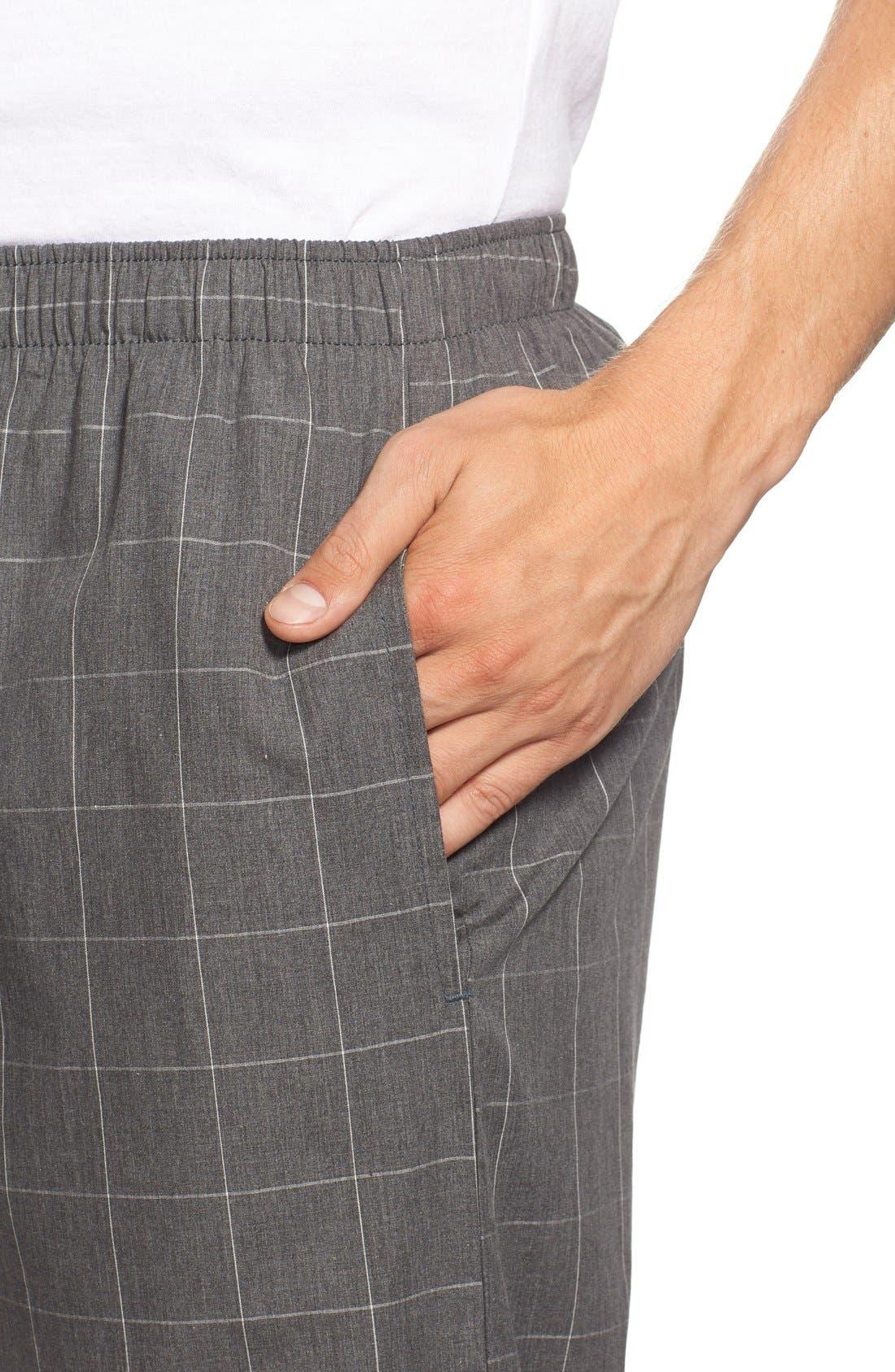 Cotton Pajama Pants,                             Alternate thumbnail 4, color,                             CHARCOAL