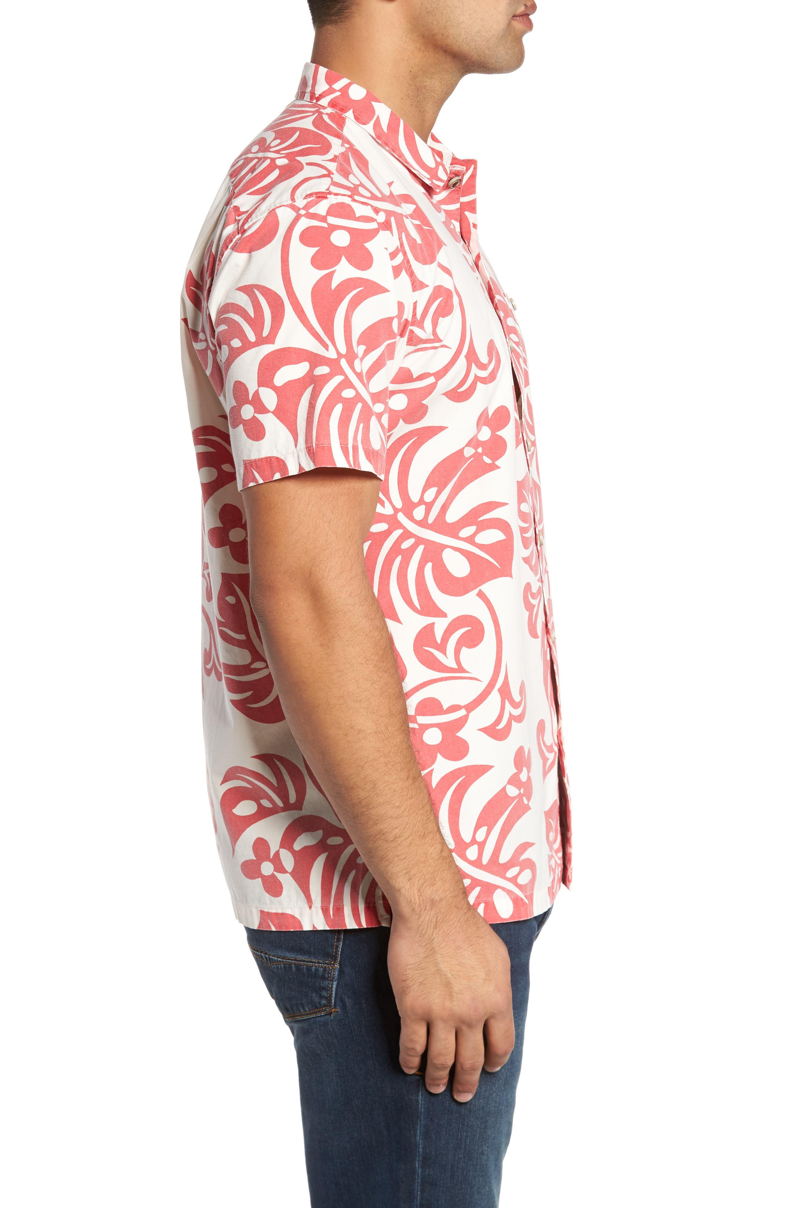 Malama Trim Fit Print Sport Shirt,                             Alternate thumbnail 3, color,