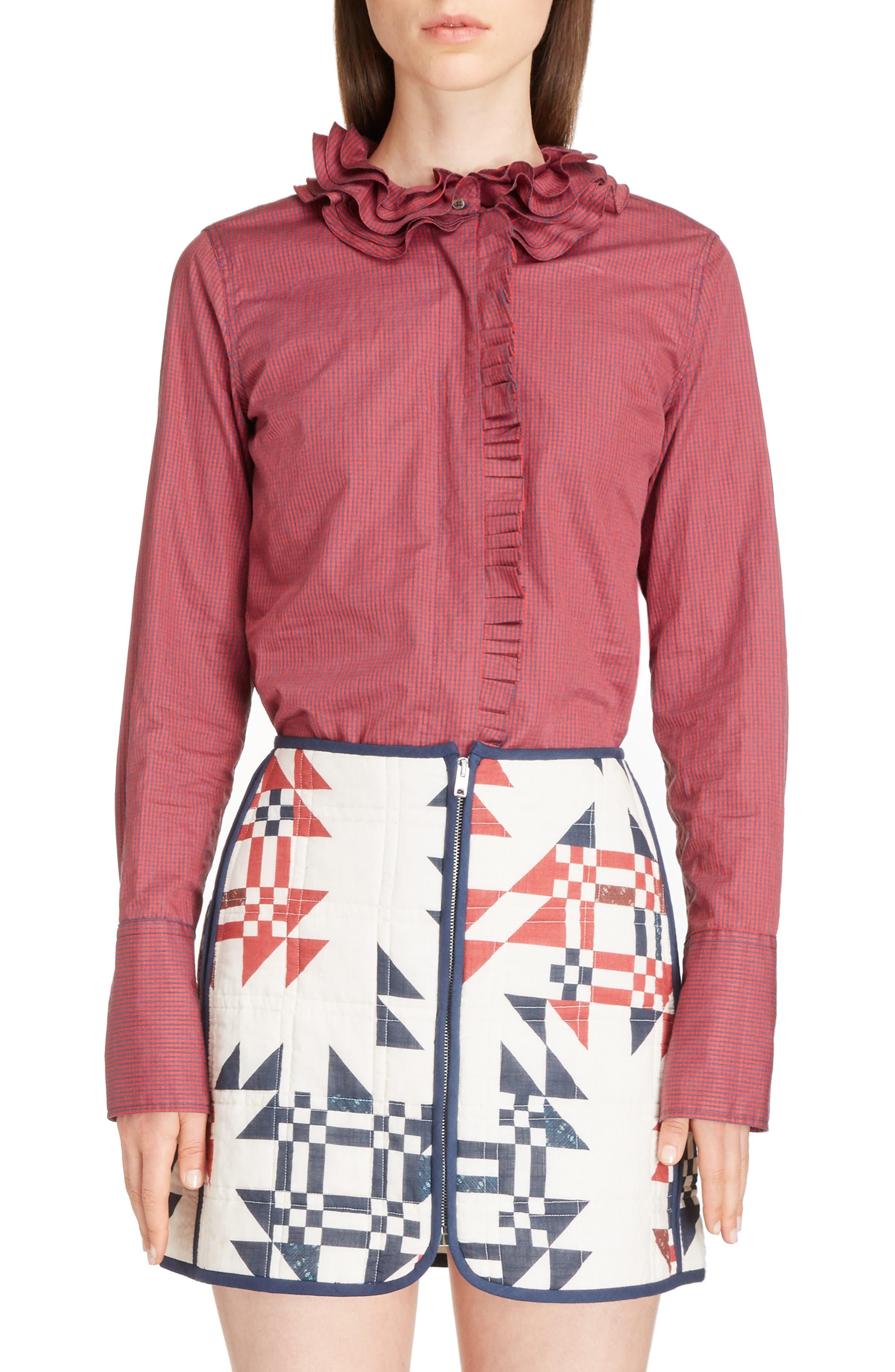 Juliette Mini Gingham Cotton Poplin Shirt,                             Main thumbnail 1, color,                             600