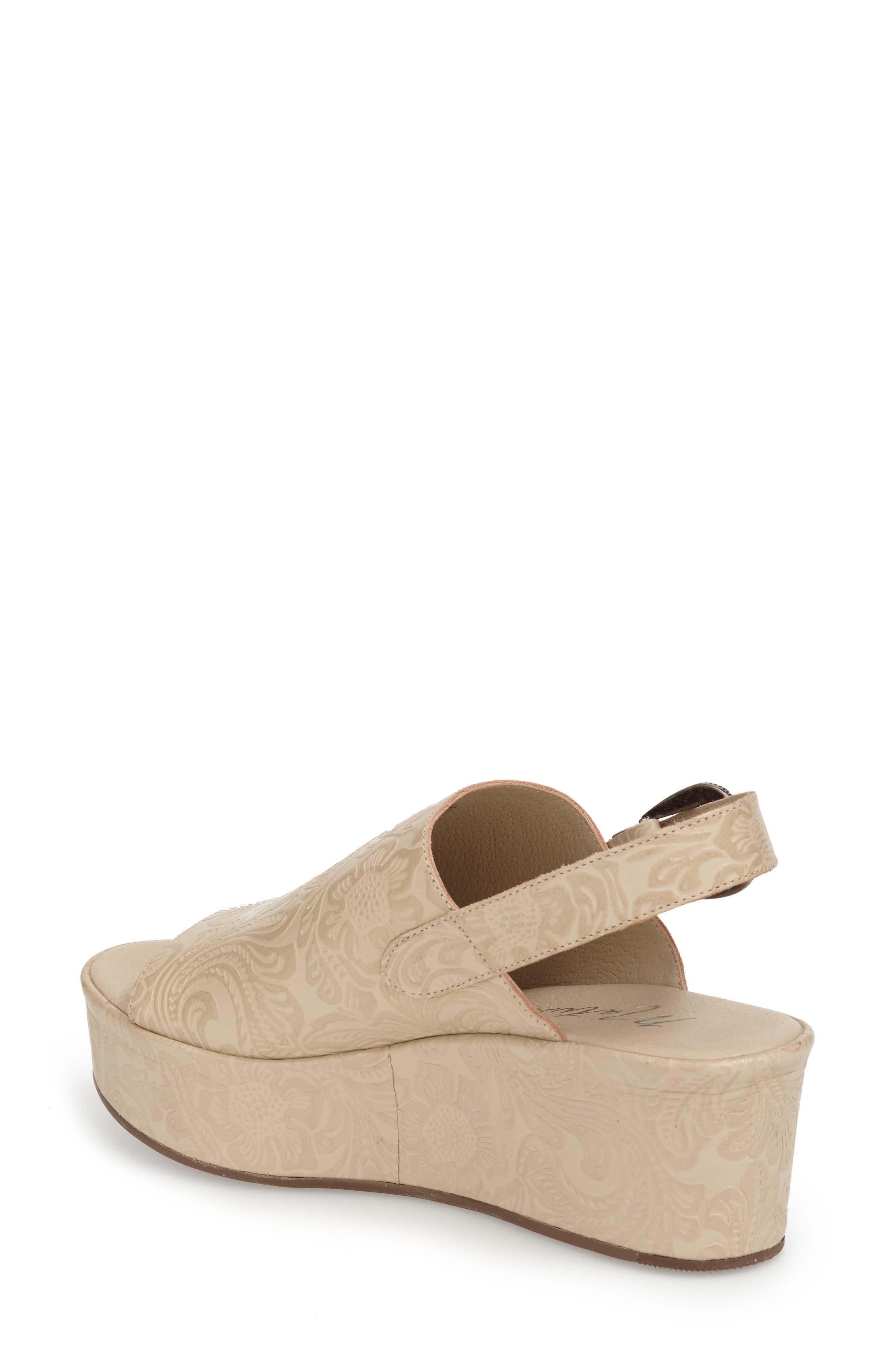 Embossed Slingback Platform Sandal,                             Alternate thumbnail 3, color,                             250
