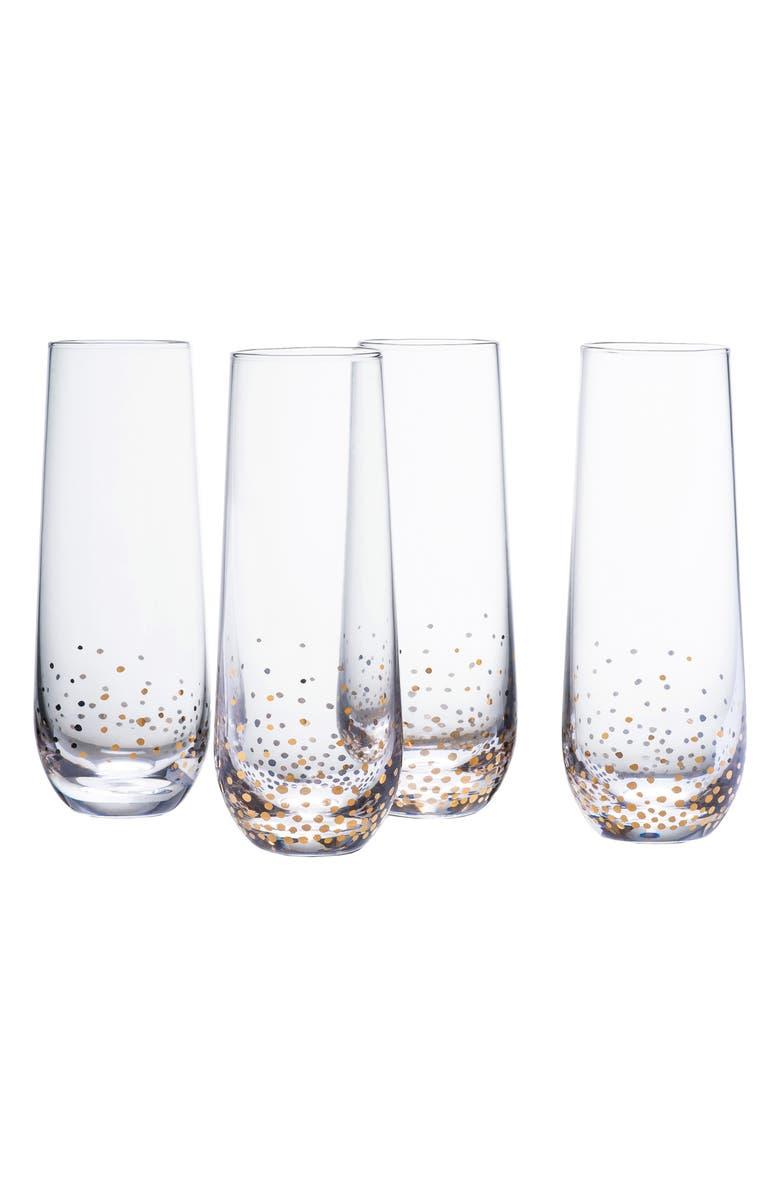 Luster Set of 4 Stemless Champagne Flutes