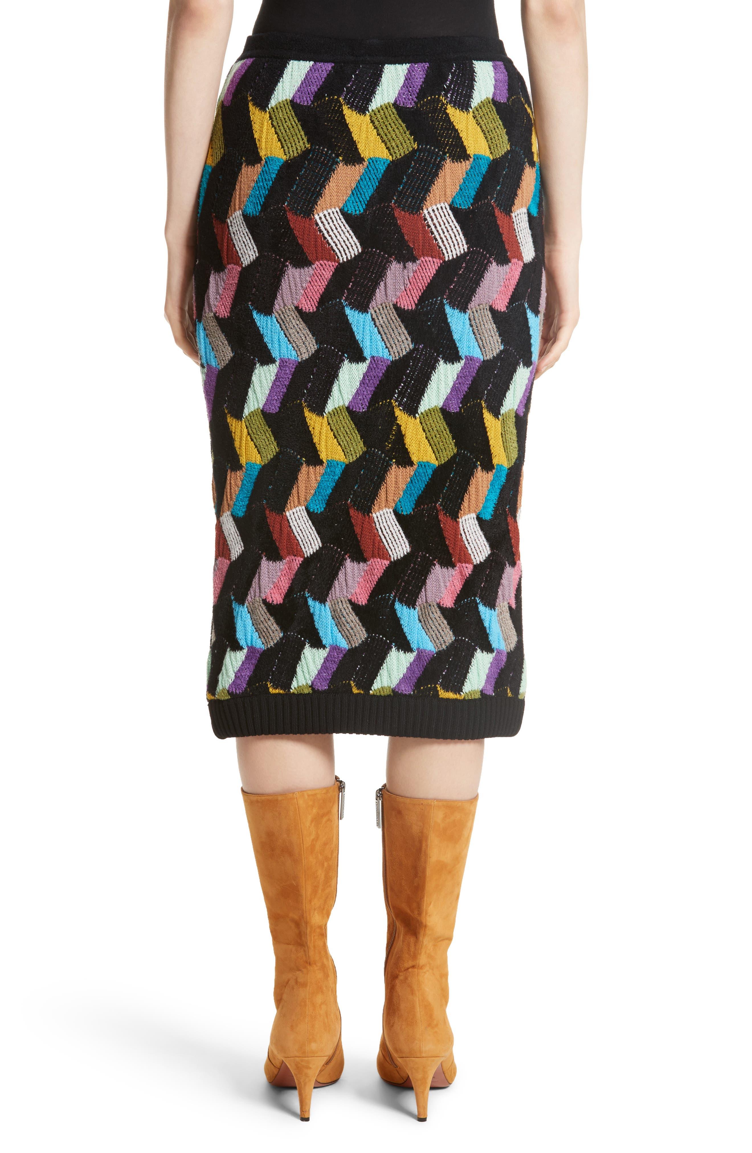 Multi Knit Pencil Skirt,                             Alternate thumbnail 2, color,                             001