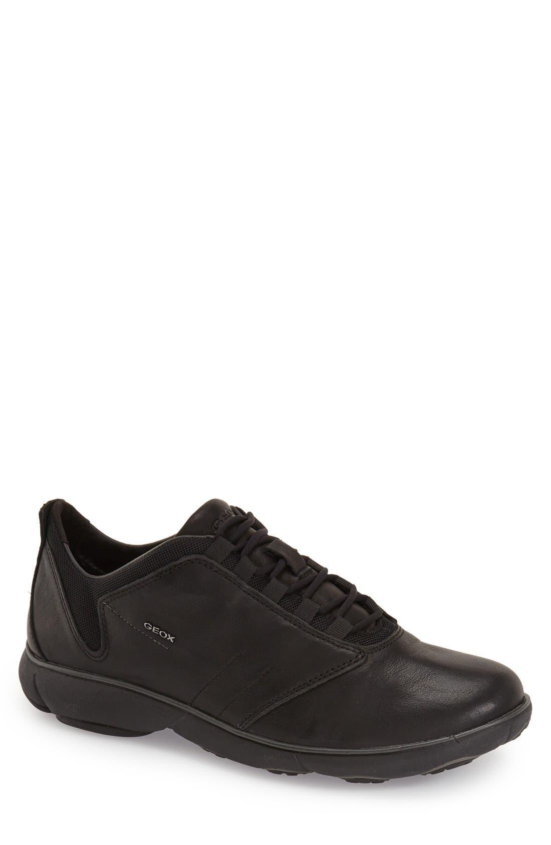 Nebula 11 Sneaker,                             Main thumbnail 1, color,                             BLACK OILY LEATHER