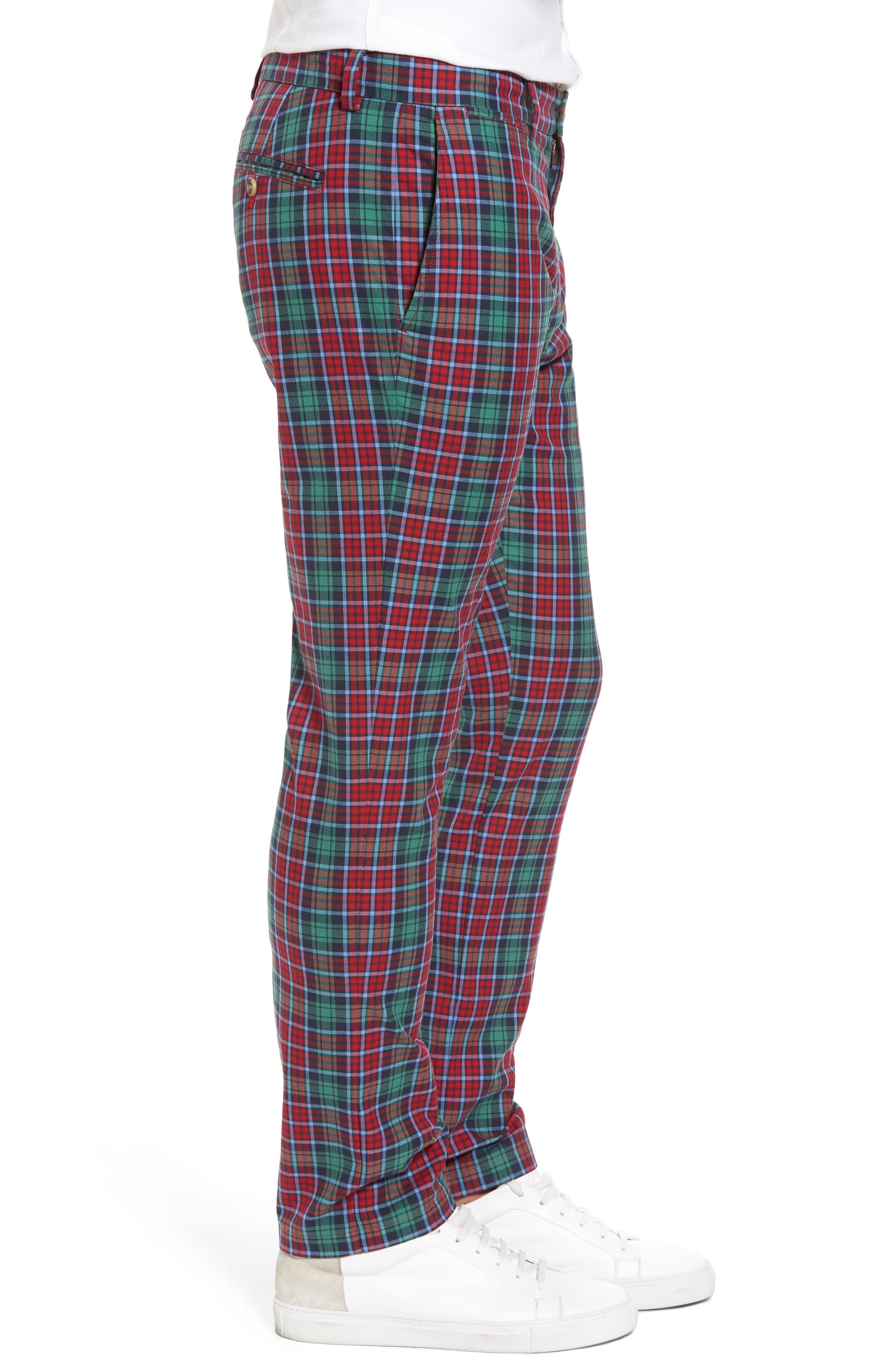 Leddy Park Slim Plaid Pants,                             Alternate thumbnail 3, color,                             342